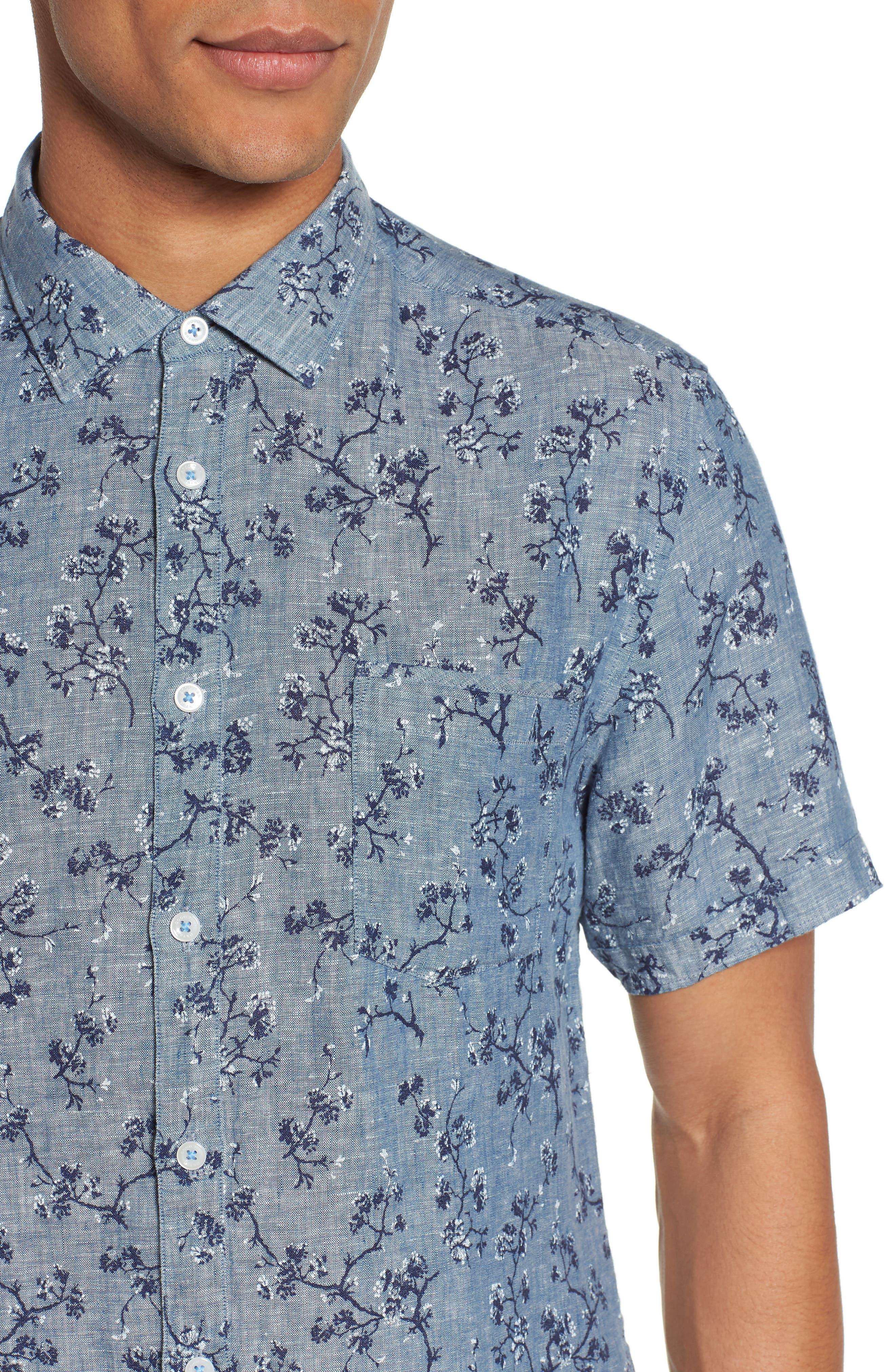 Trim Fit Floral Sport Shirt,                             Alternate thumbnail 4, color,                             Indigo
