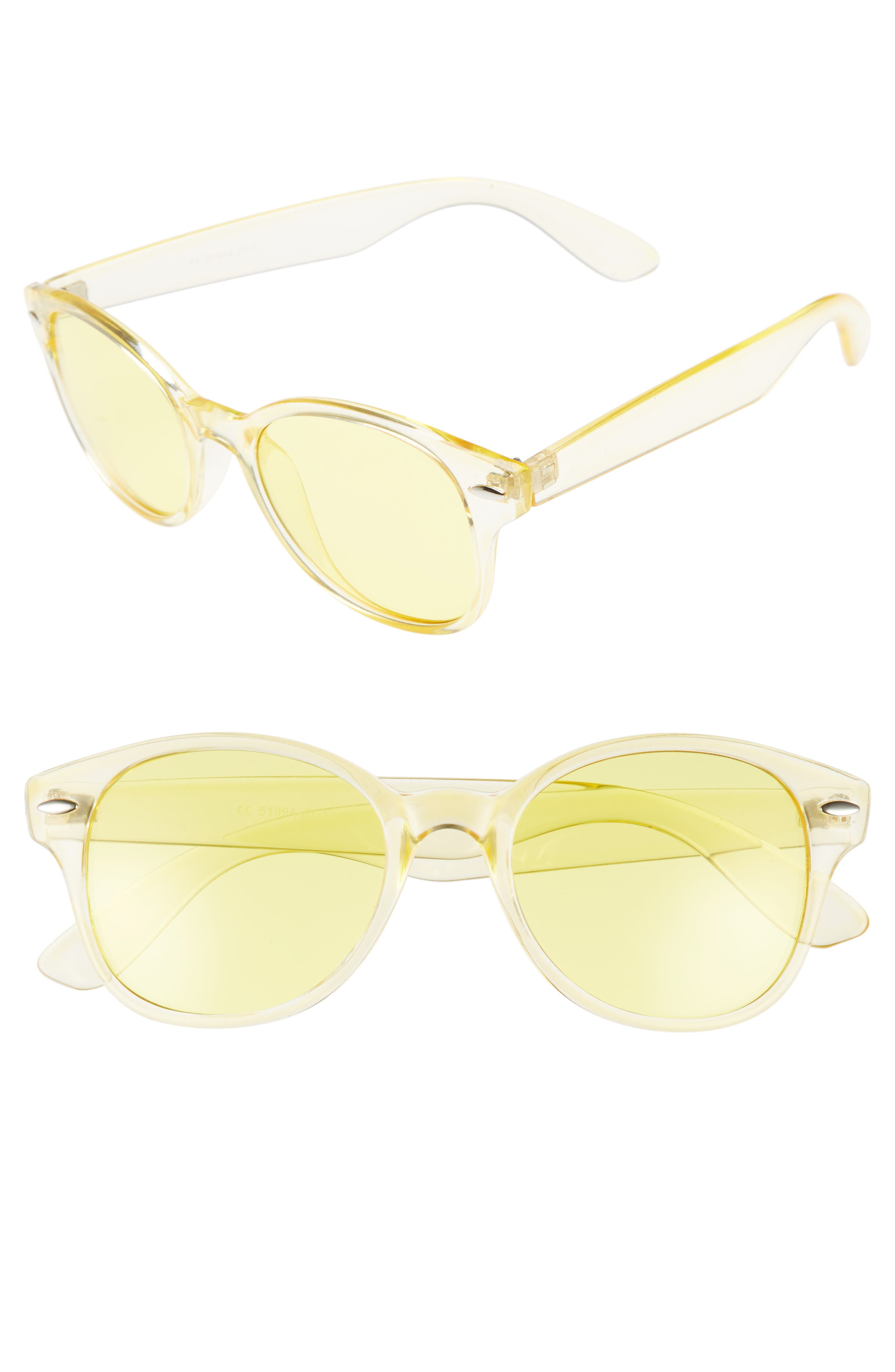 50mm Transparent Round Sunglasses,                             Main thumbnail 1, color,                             Yellow