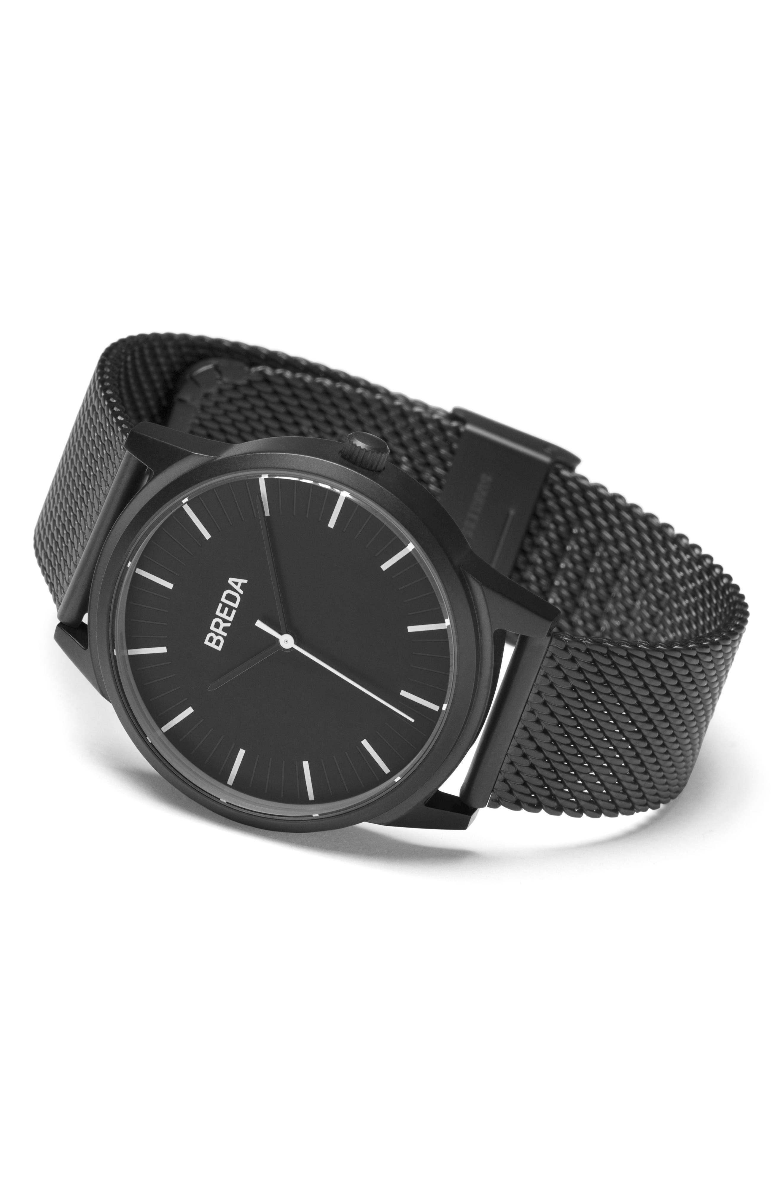 Bresson Mesh Strap Watch, 39mm,                             Alternate thumbnail 3, color,                             Black