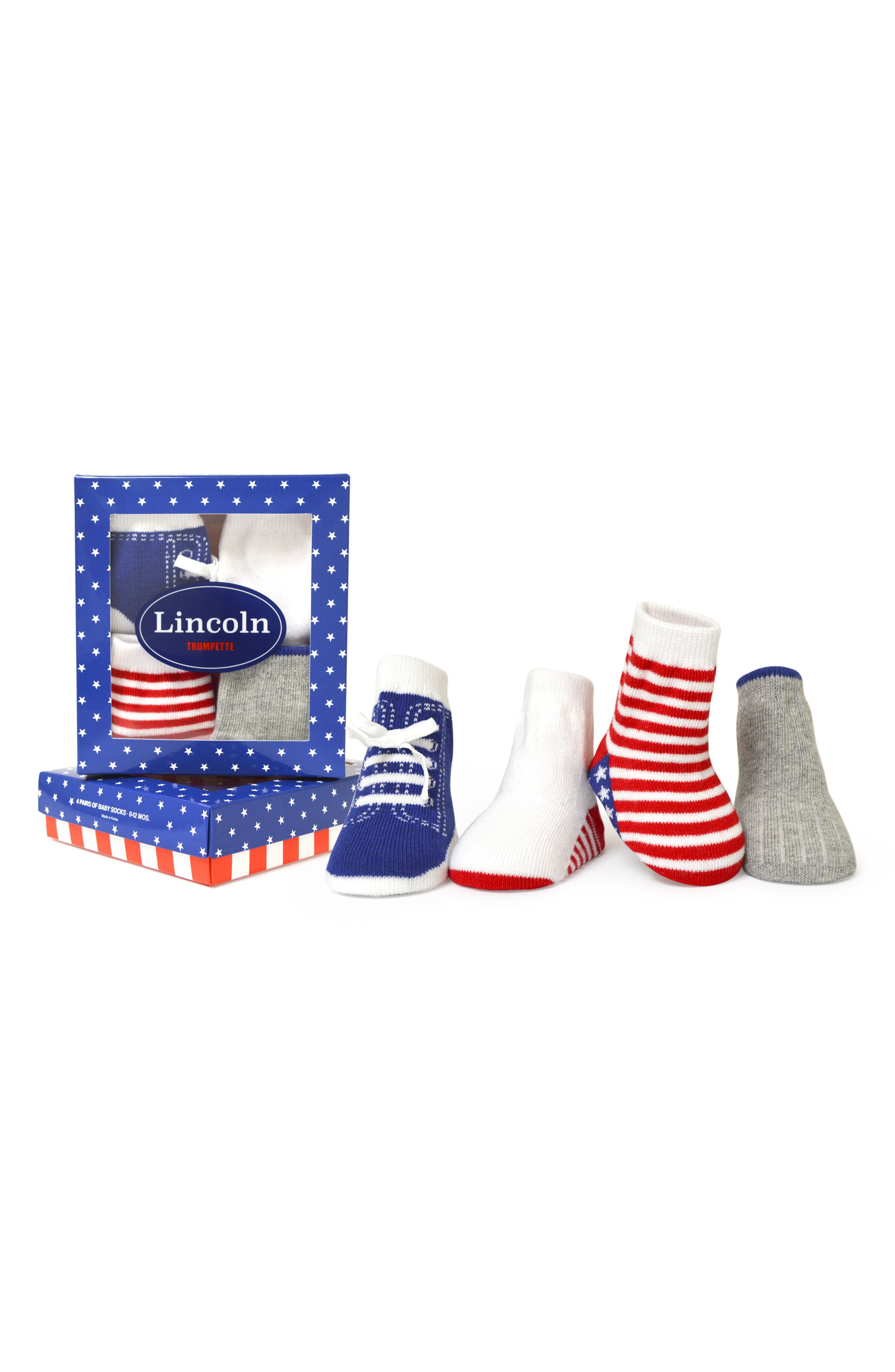 Main Image - Trumpette Lincoln 4-Pack Socks (Baby Boys)