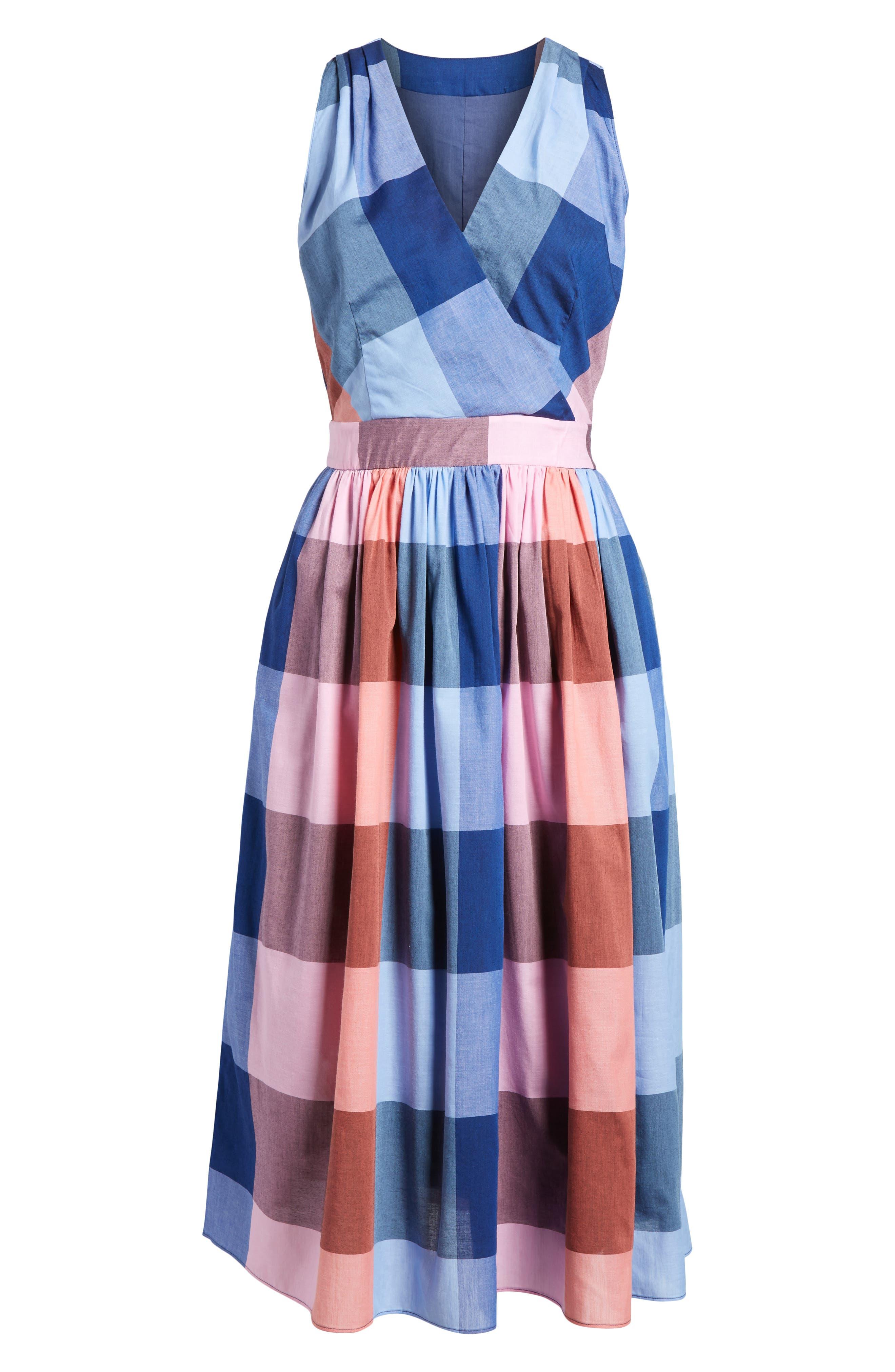 Plaid Cotton Wrap Style Dress,                             Alternate thumbnail 7, color,                             Pink- Blue Plaid