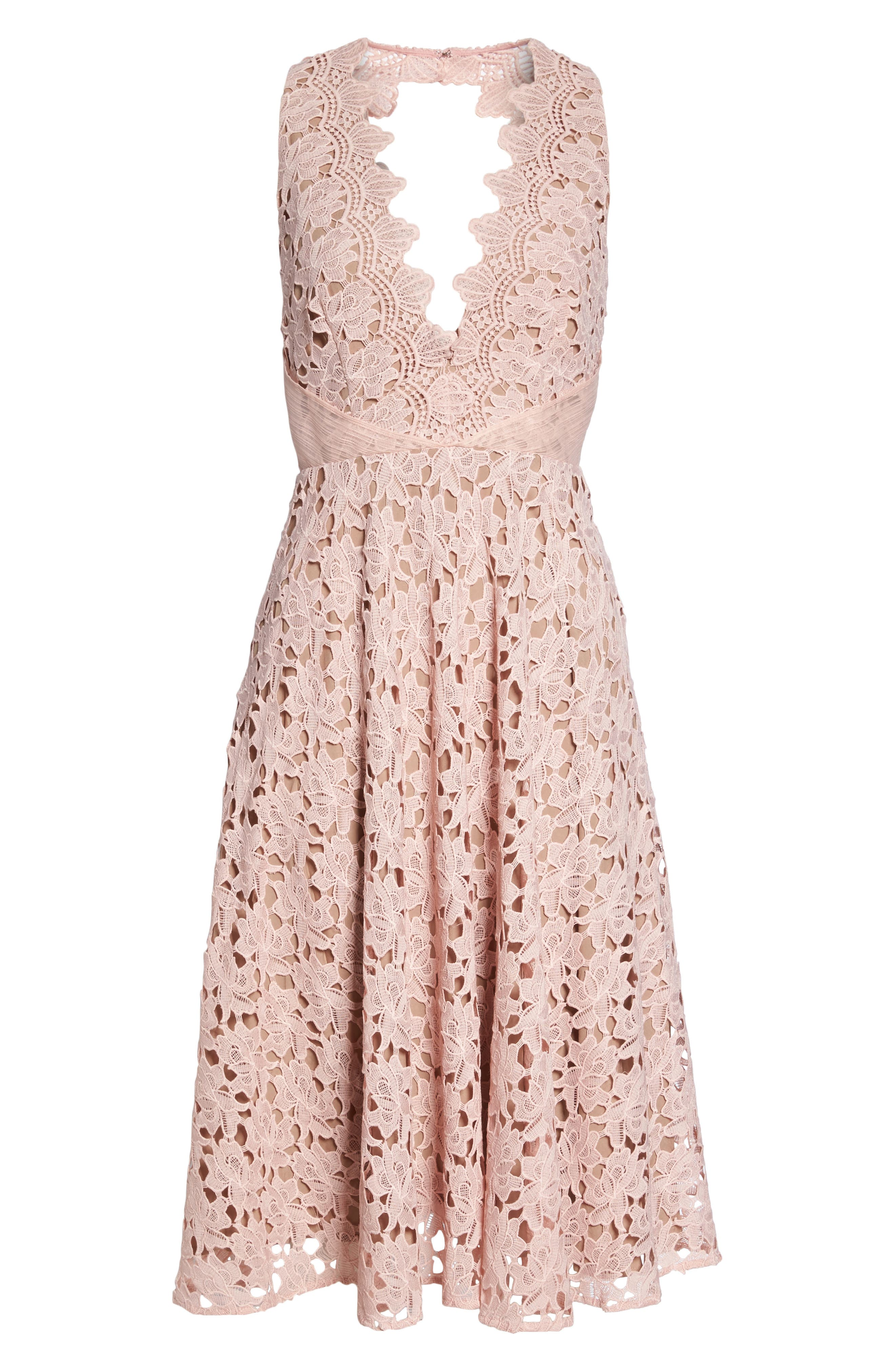 Ashley Guipure Lace Fit & Flare Dress,                             Alternate thumbnail 6, color,                             Pink