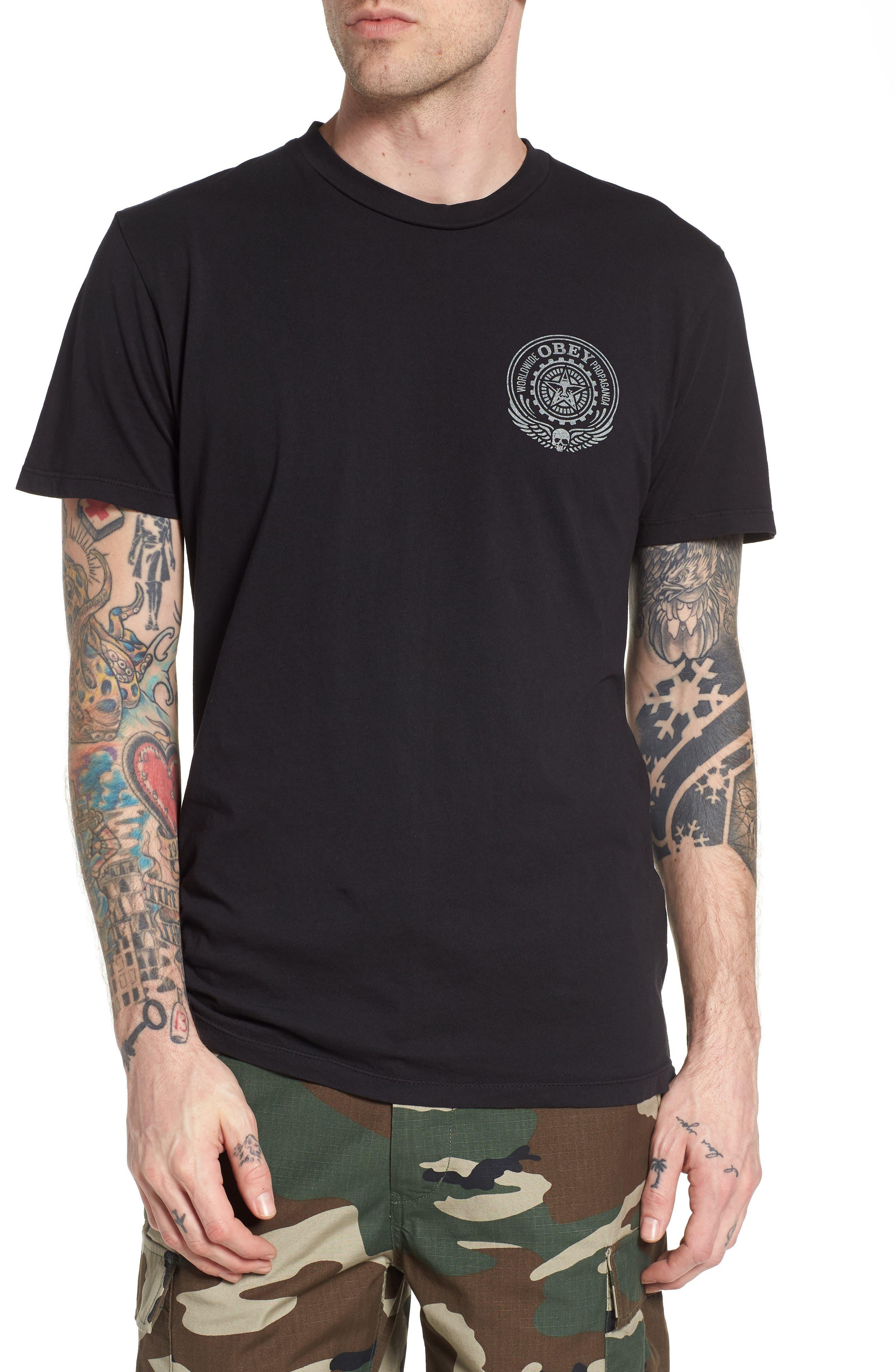 Skulls & Wings T-Shirt,                         Main,                         color, Limo Black