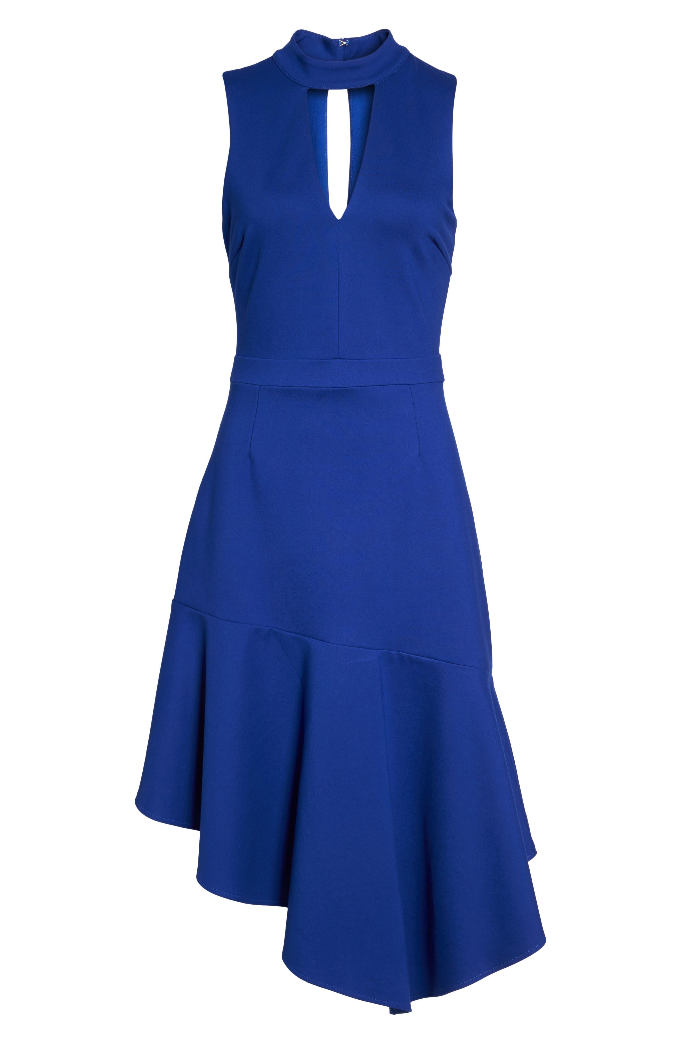 Nessa Ponte Midi Dress,                             Alternate thumbnail 6, color,                             Cobalt