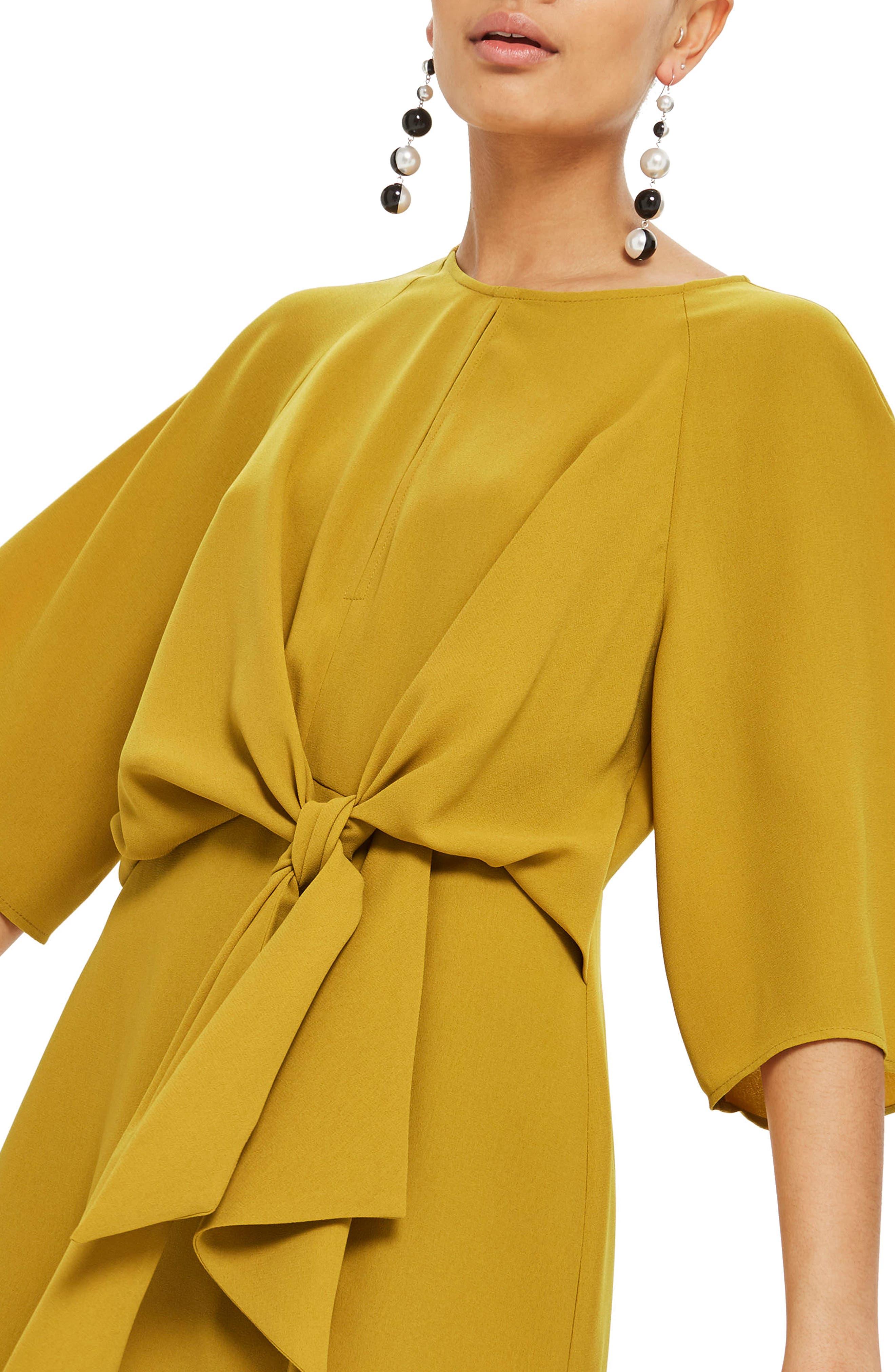 Tie Front Minidress,                             Alternate thumbnail 3, color,                             Mustard