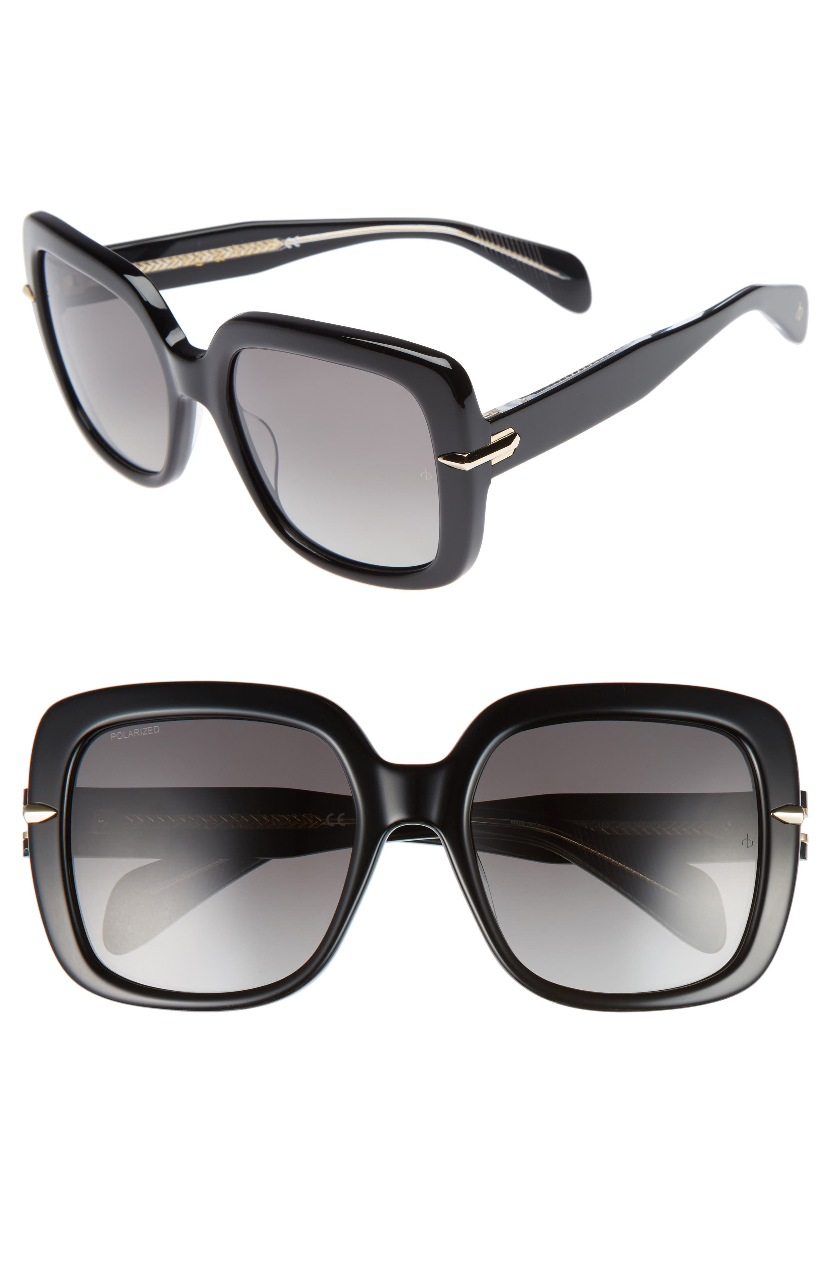 rag & bone 56mm Square Polarized Sunglasses