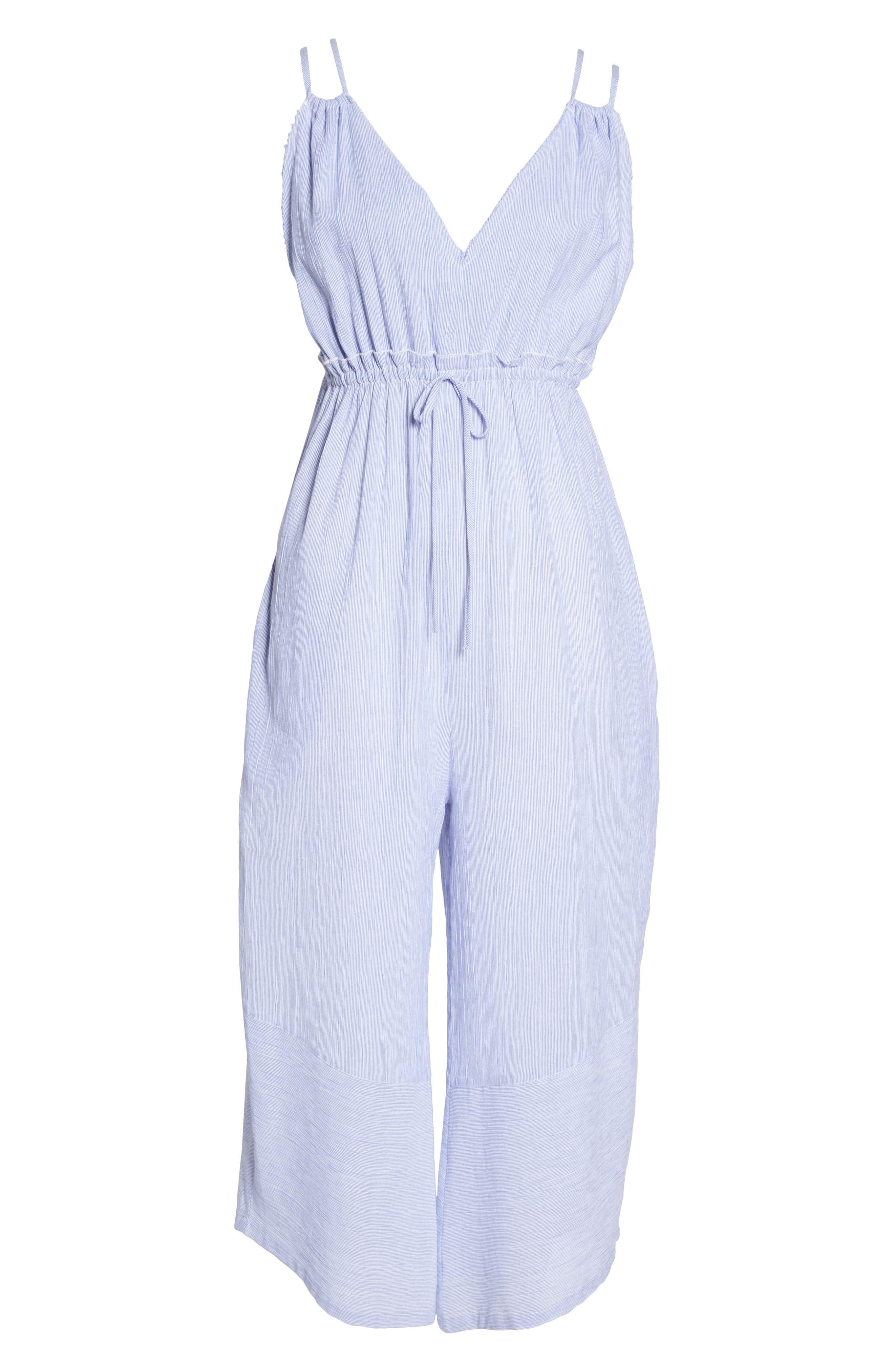 Florentina Jumpsuit Cover-Up,                             Alternate thumbnail 6, color,                             Blue/ White
