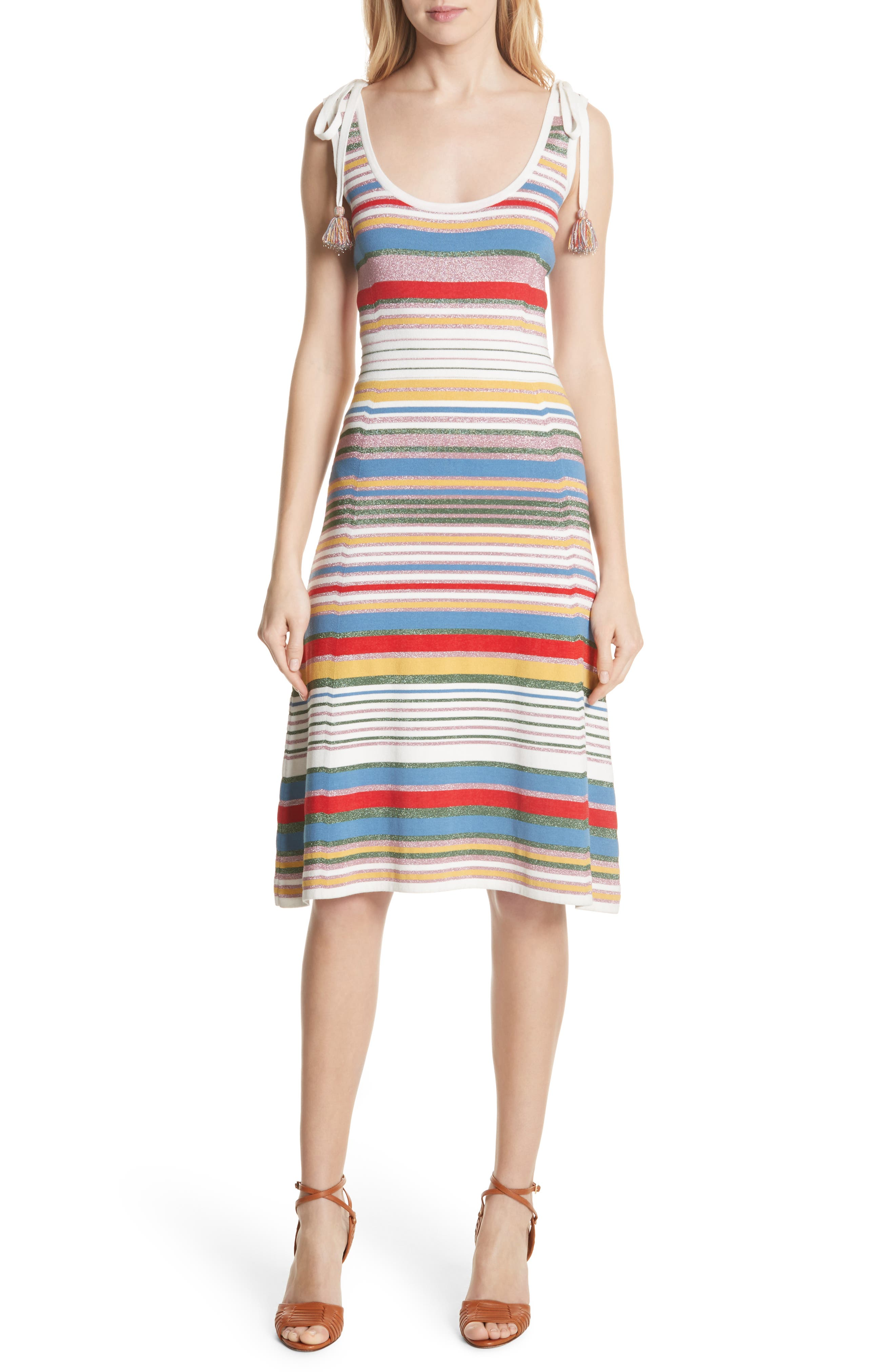Dulce Glitter Stripe Dress,                             Main thumbnail 1, color,                             Multi