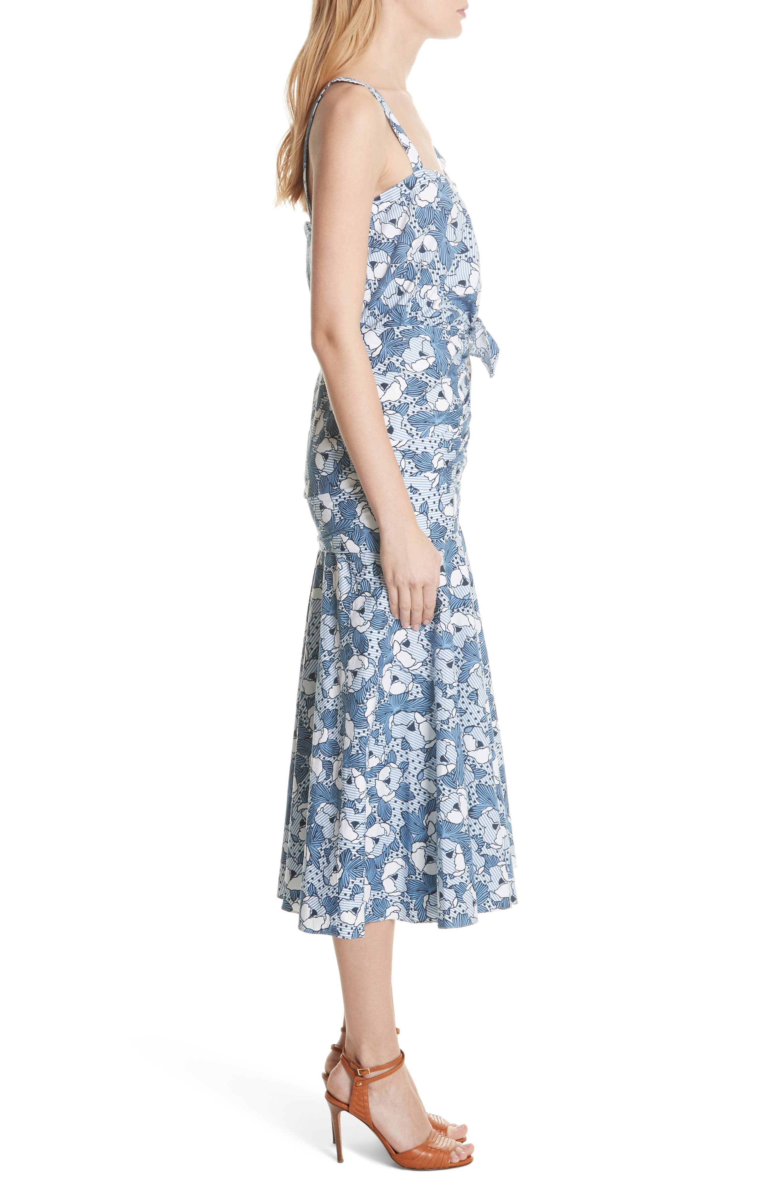 Marena Ruched Waist Floral Midi Dress,                             Alternate thumbnail 3, color,                             Blue/ White