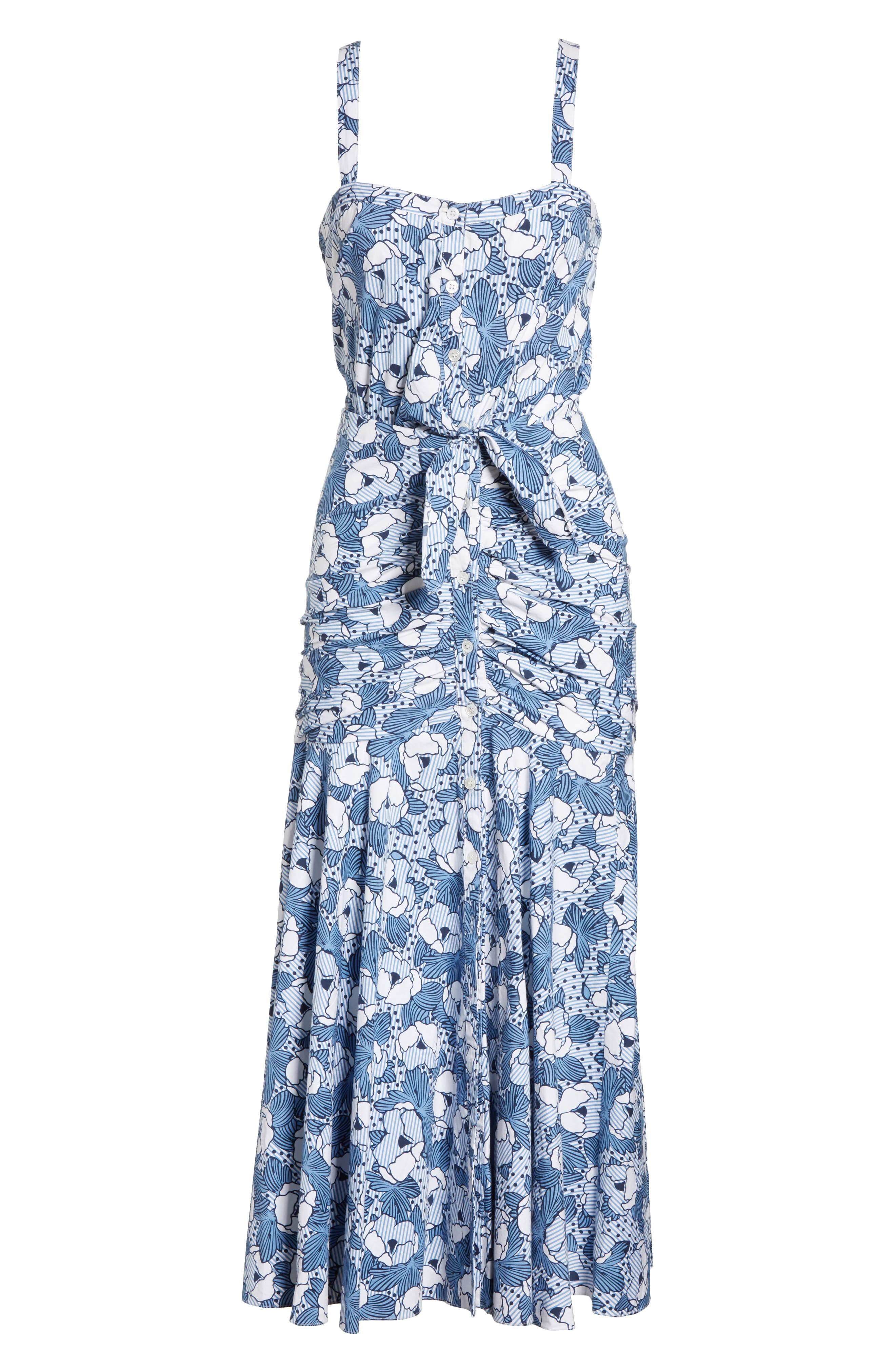 Marena Ruched Waist Floral Midi Dress,                             Alternate thumbnail 6, color,                             Blue/ White