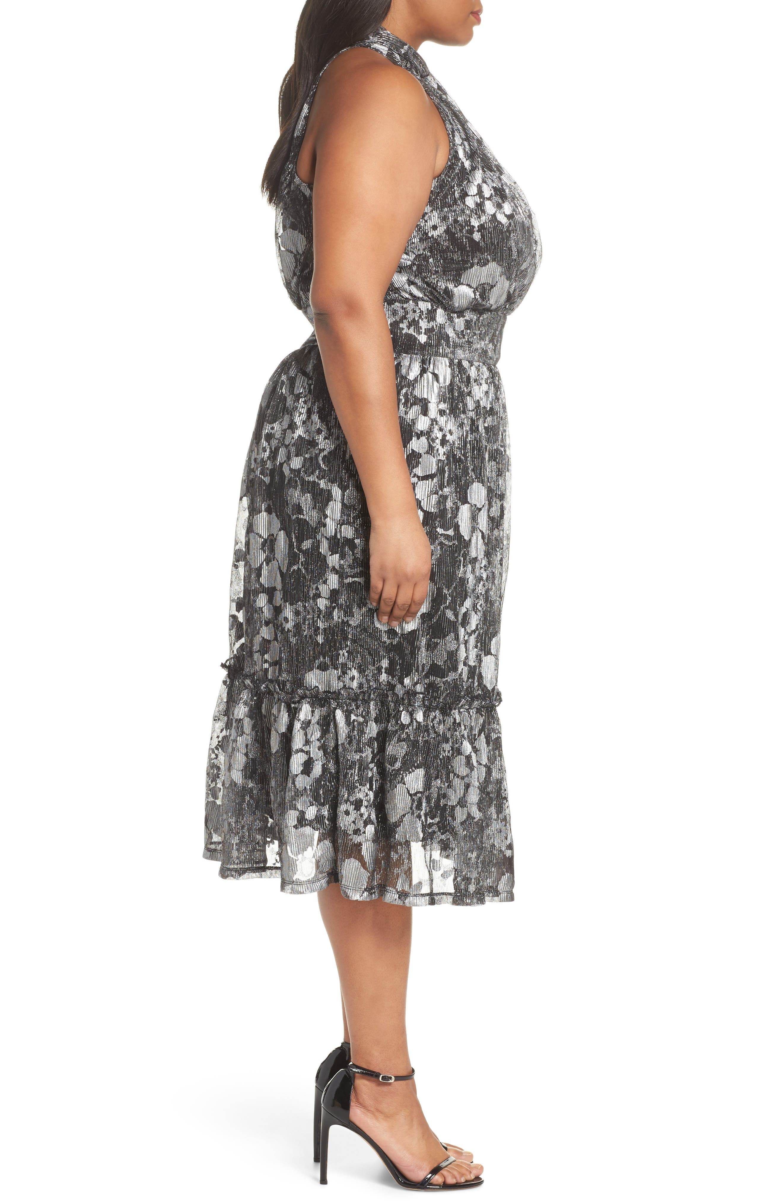 Floral Metallic Midi Dress,                             Alternate thumbnail 3, color,                             Black/ Silver Foil
