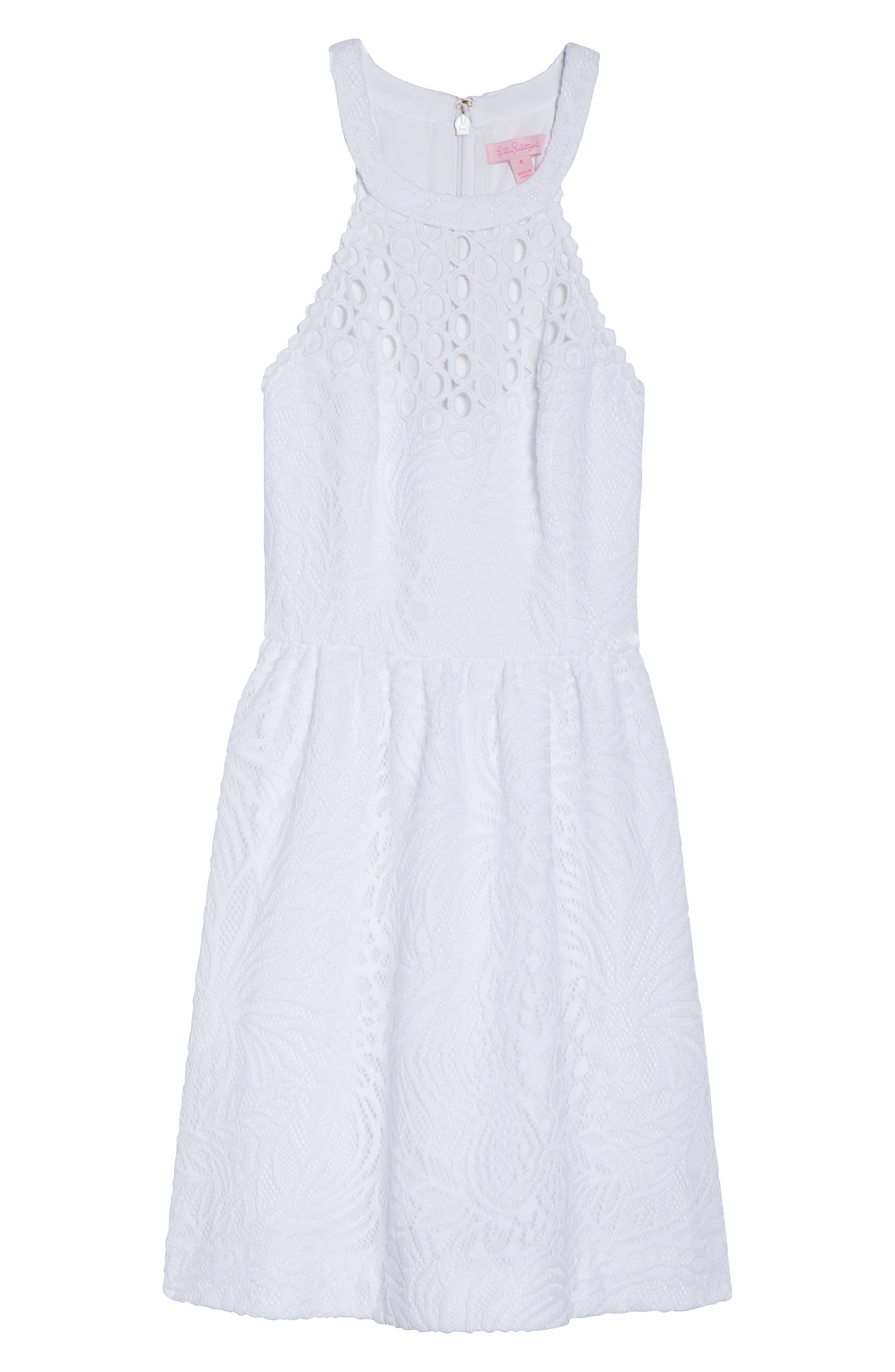 Kinley Halter Dress,                             Alternate thumbnail 6, color,                             Resort White Tropical Lace