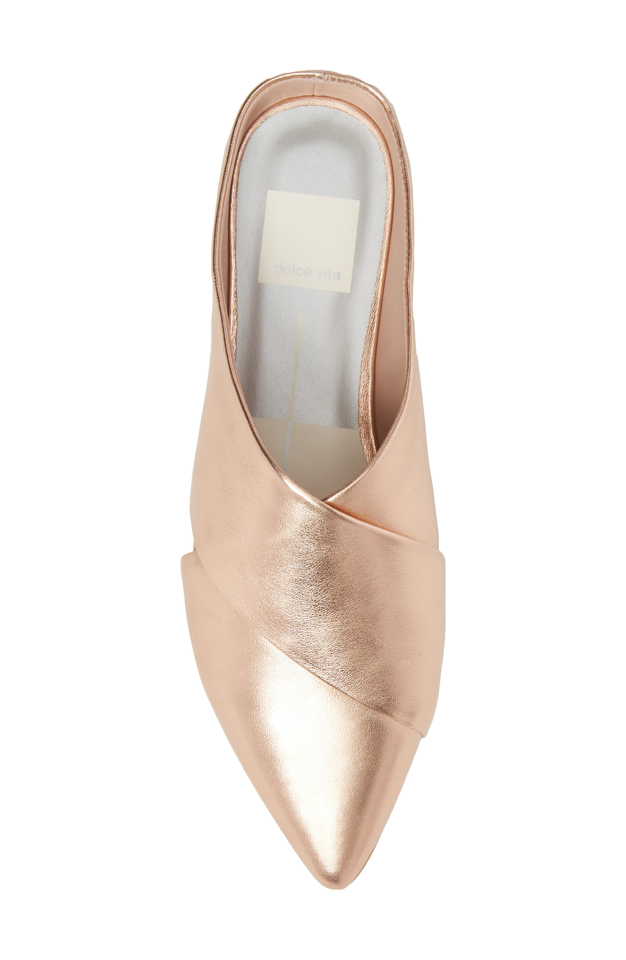 Camia Cross Band Mule,                             Alternate thumbnail 5, color,                             Rose Gold Leather