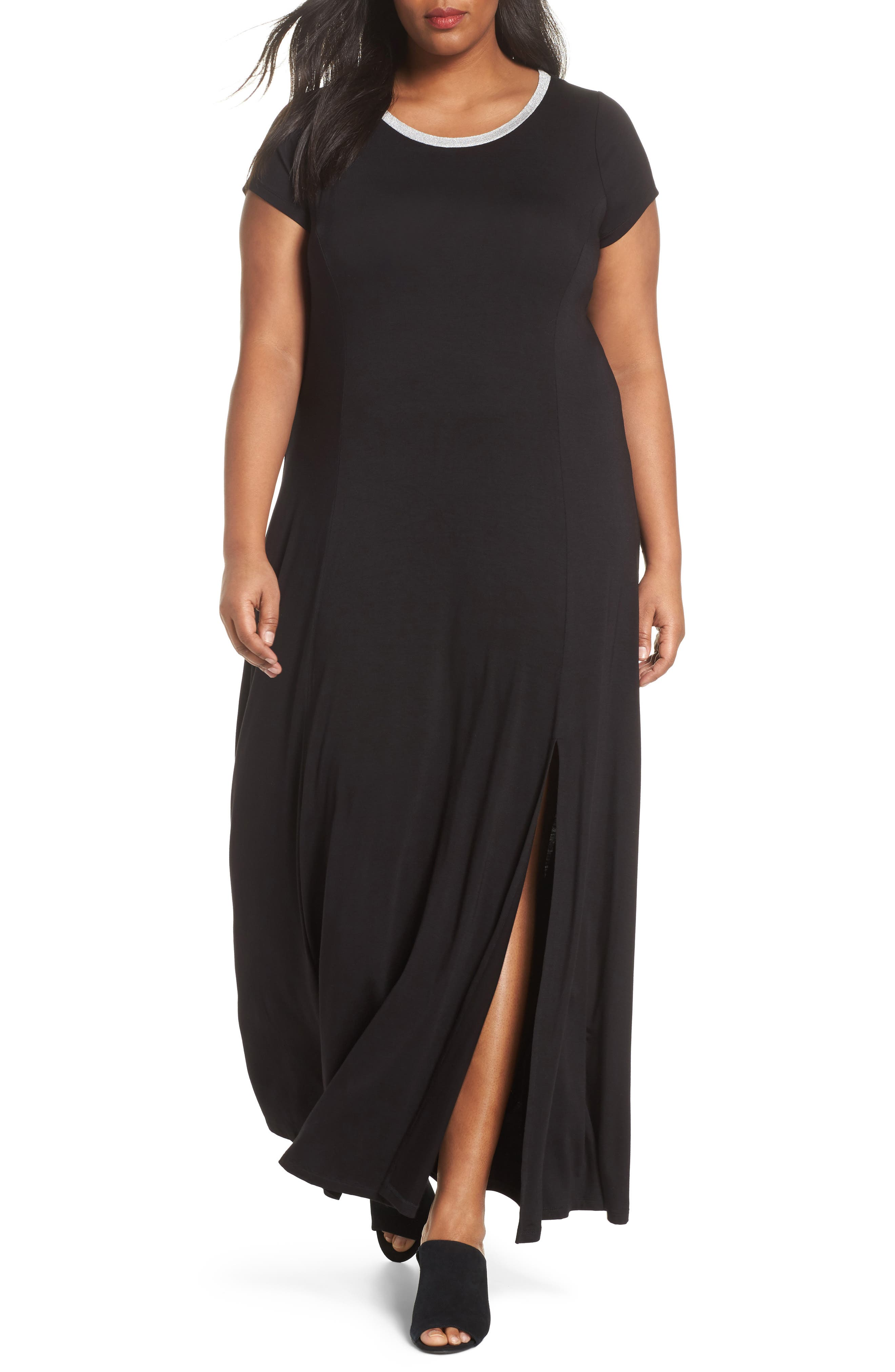 Metallic Crewneck Maxi Dress,                         Main,                         color, Black
