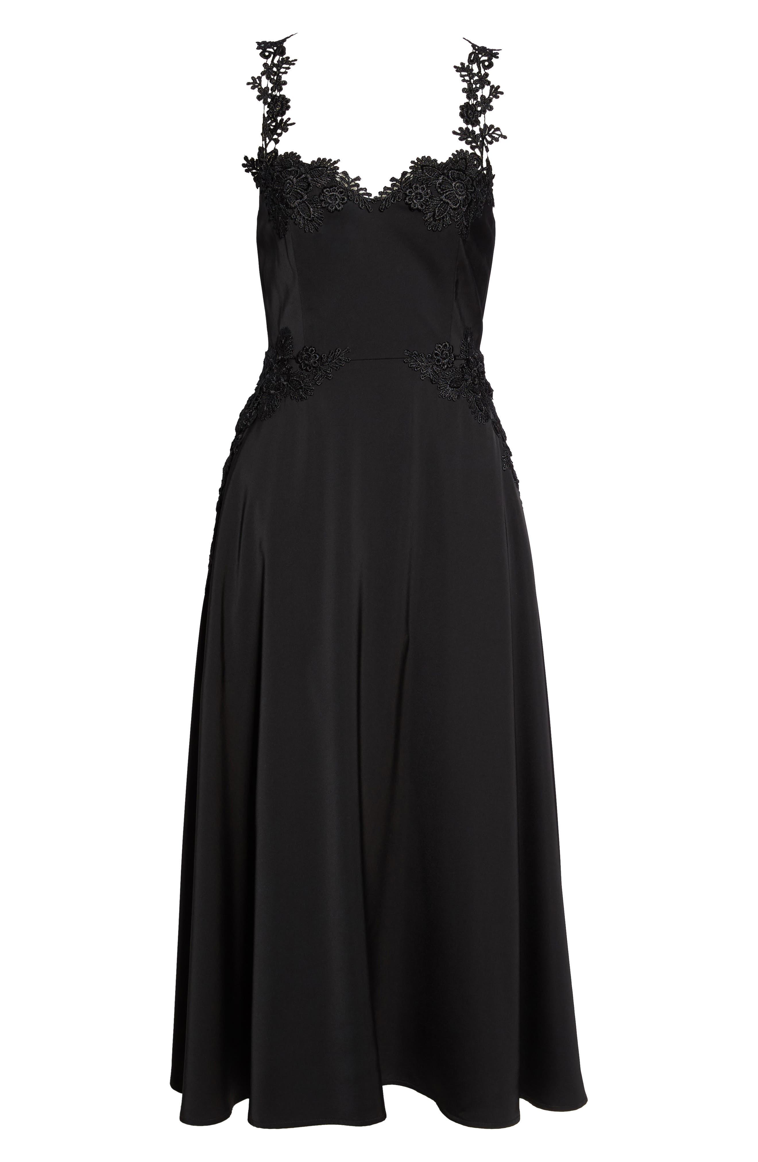 Aislinn Floral Appliqué Tea Length Dress,                             Alternate thumbnail 6, color,                             Black Multi