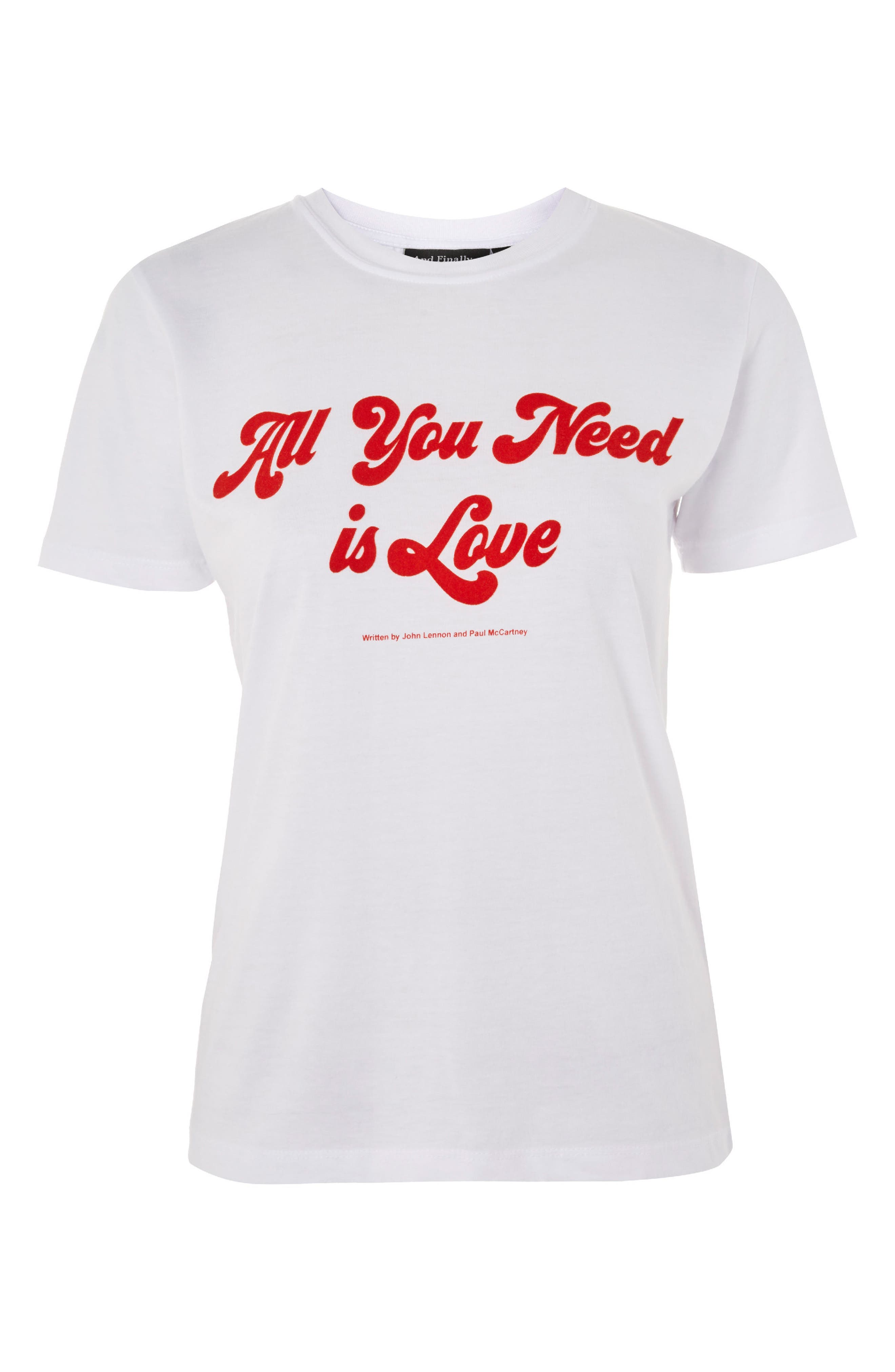 by And Finally All You Need Is Love Tee,                             Alternate thumbnail 4, color,                             White Multi