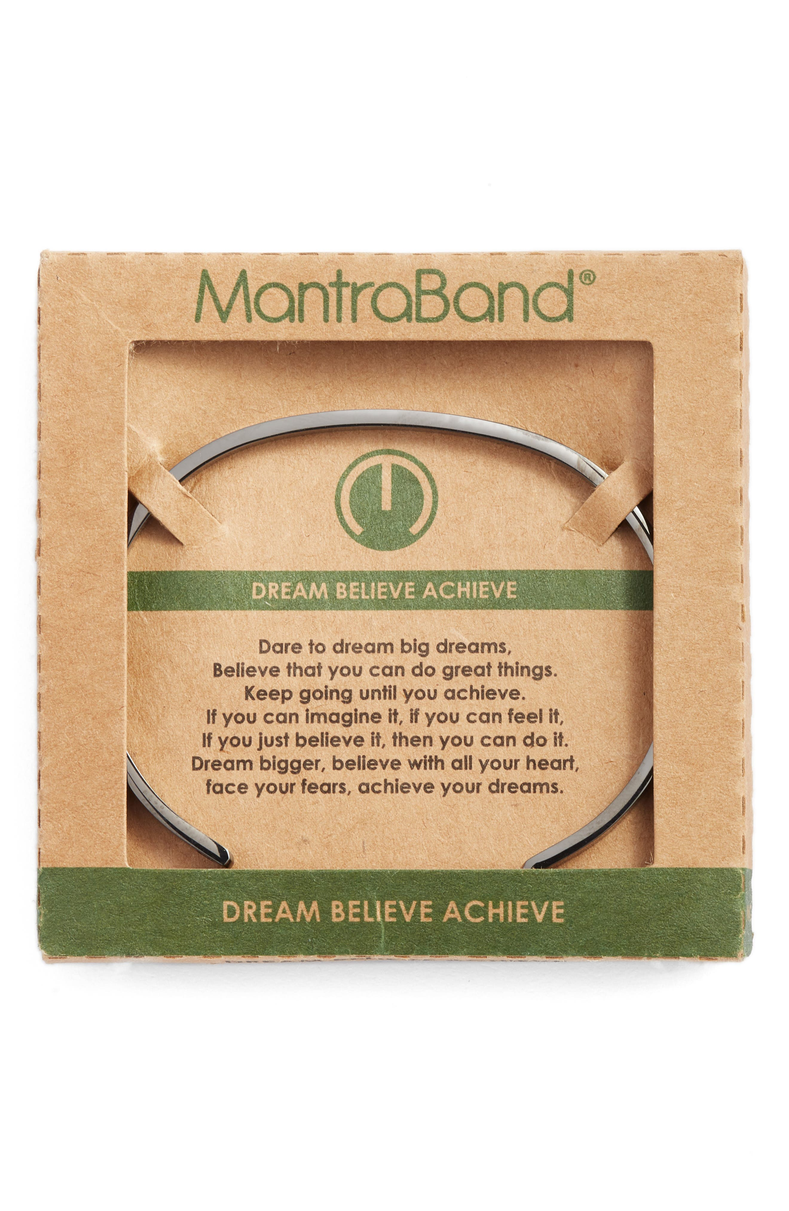 Dream Believe Achieve Cuff Bracelet,                             Alternate thumbnail 2, color,                             Moon Gray
