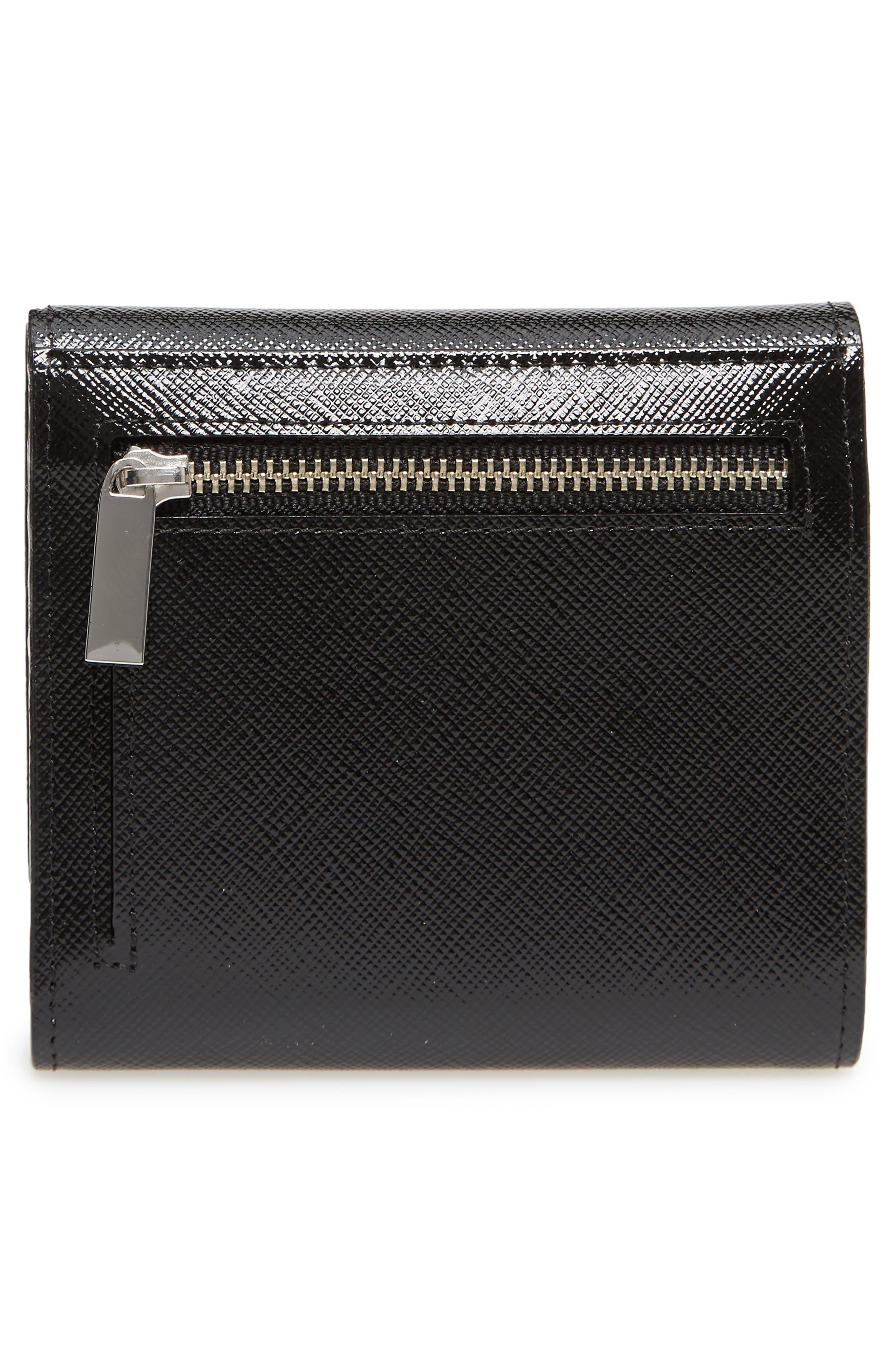 Trifold Leather Envelope Wallet,                             Alternate thumbnail 4, color,                             Black