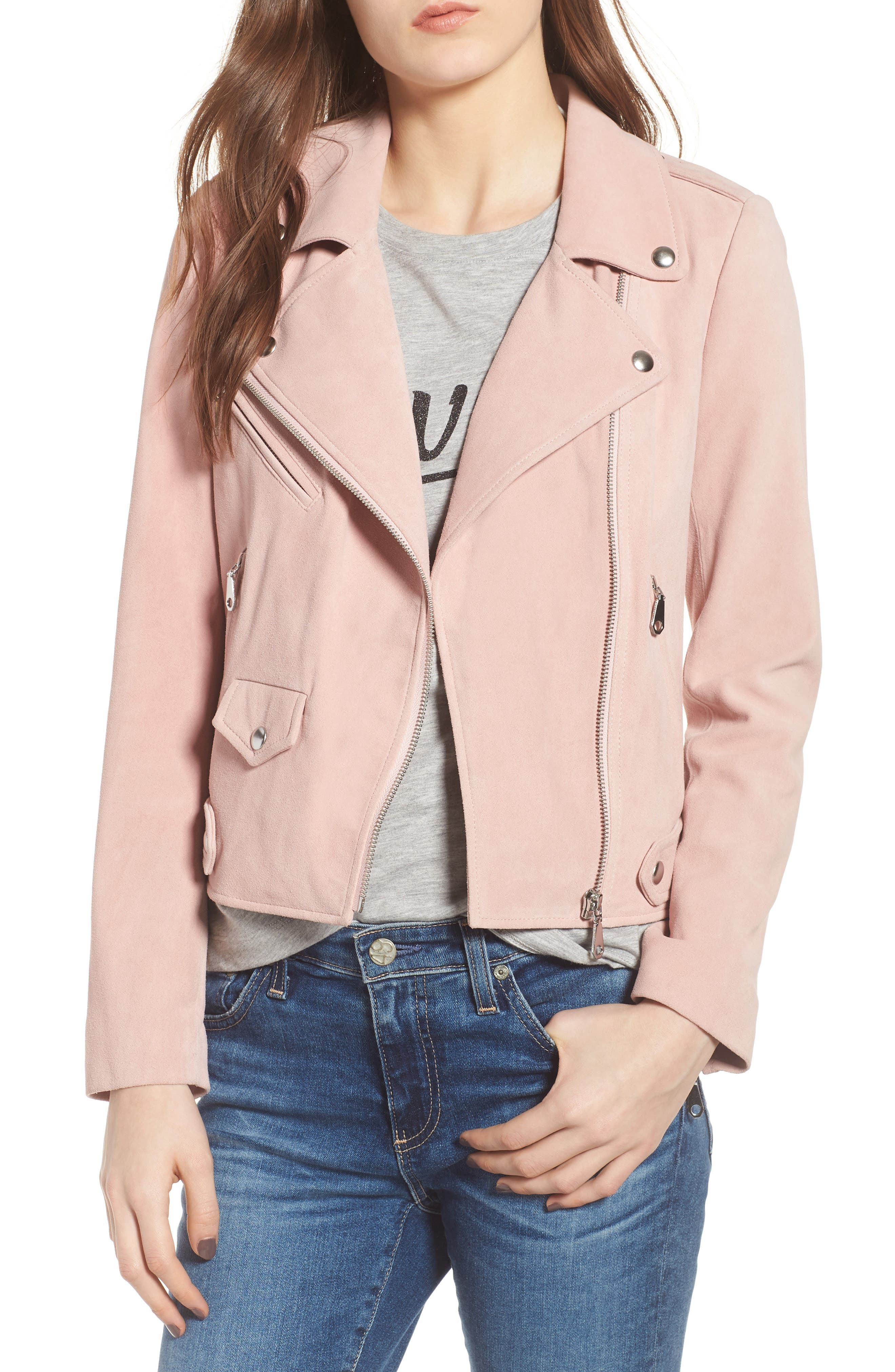 Wes Suede Moto Jacket,                             Main thumbnail 1, color,                             Light Pink