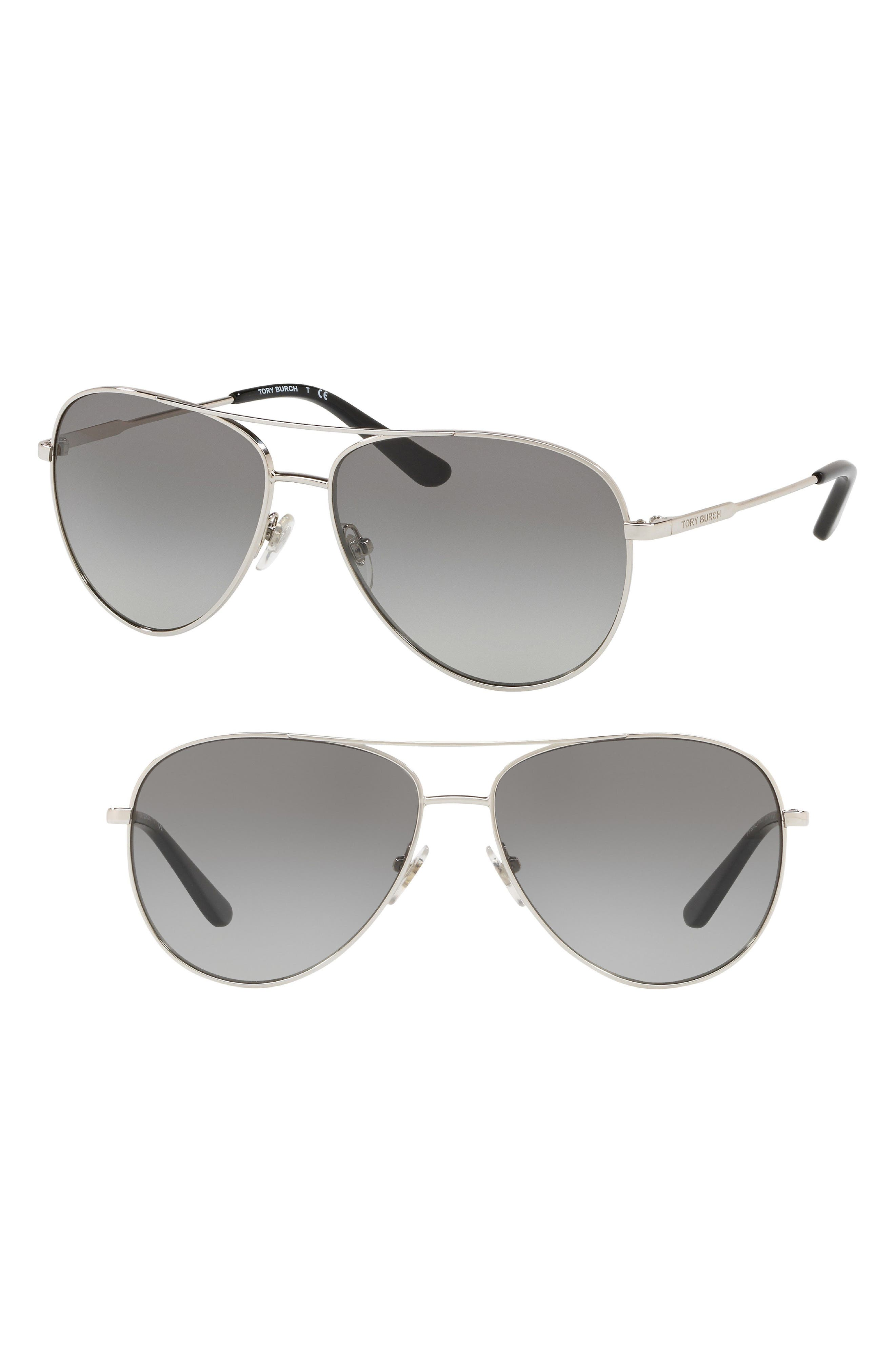 59mm Aviator Sunglasses,                             Main thumbnail 1, color,                             Silver