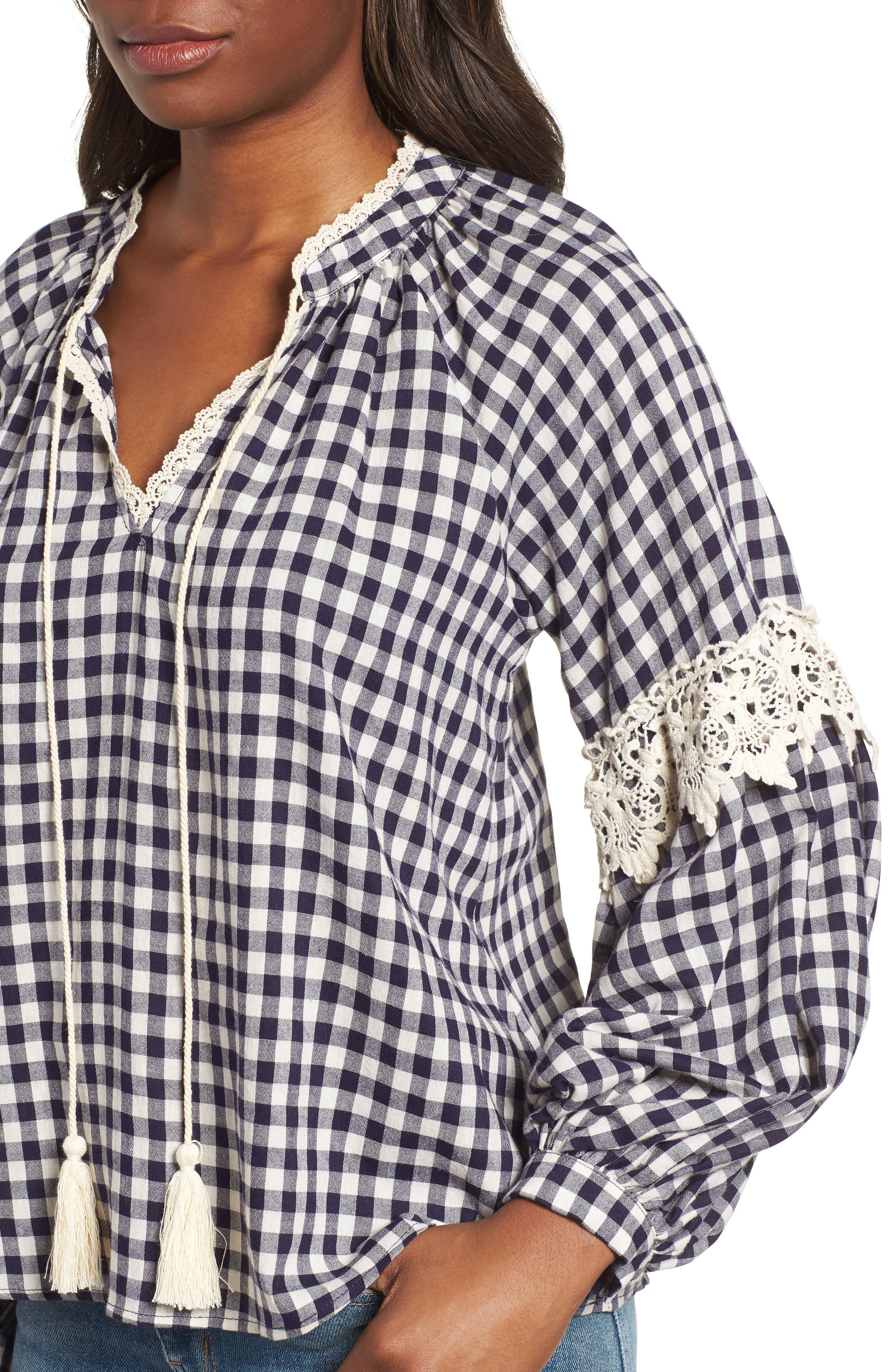 Gingham Check Peasant Top,                             Alternate thumbnail 4, color,                             Navy White Gingham