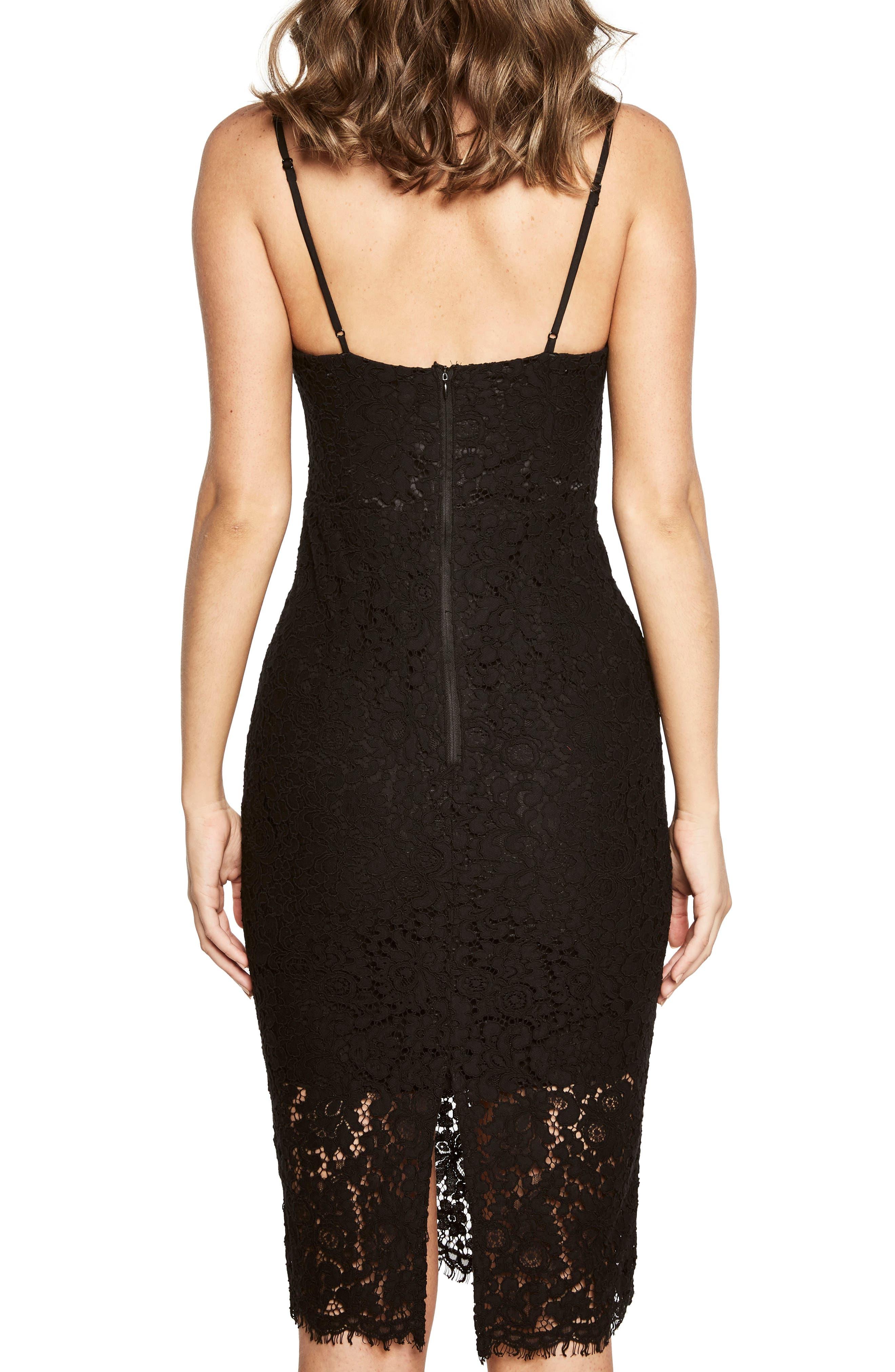 Pierre Lace Dress,                             Alternate thumbnail 2, color,                             Black