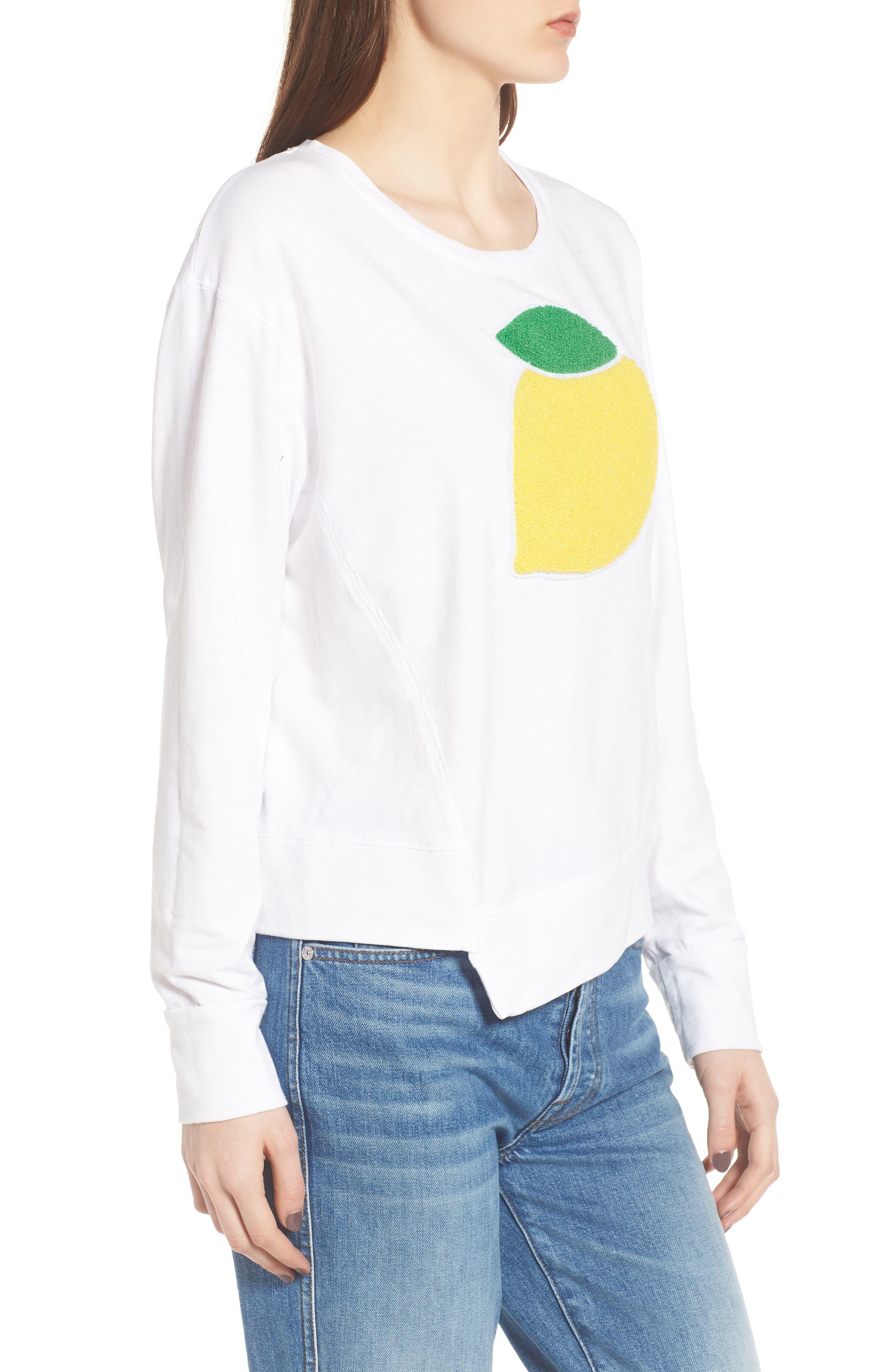 Lemon Asymmetrical Hem Pullover,                             Alternate thumbnail 3, color,                             White
