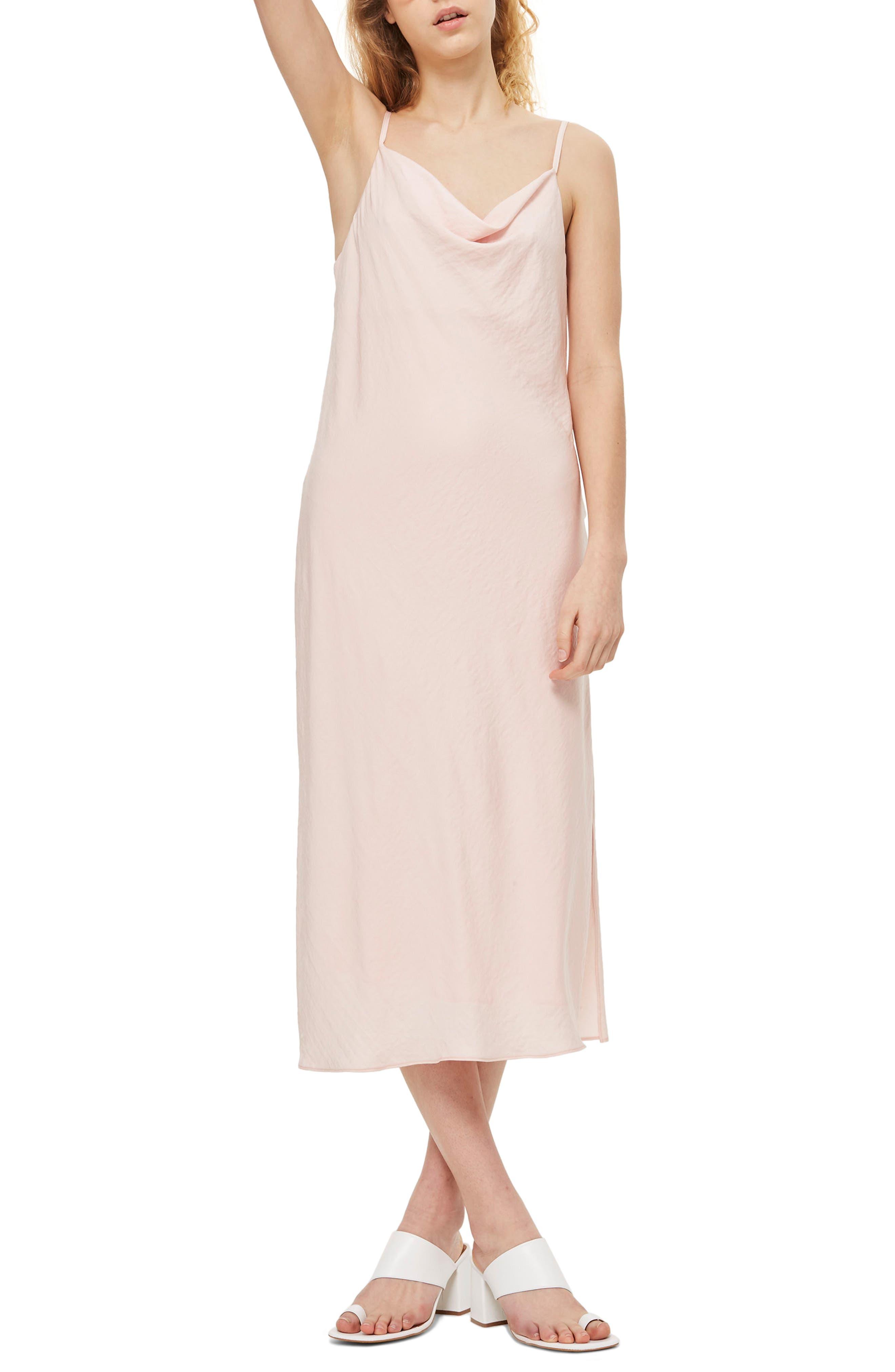 Cowl Neck Satin Midi Dress,                         Main,                         color, Blush