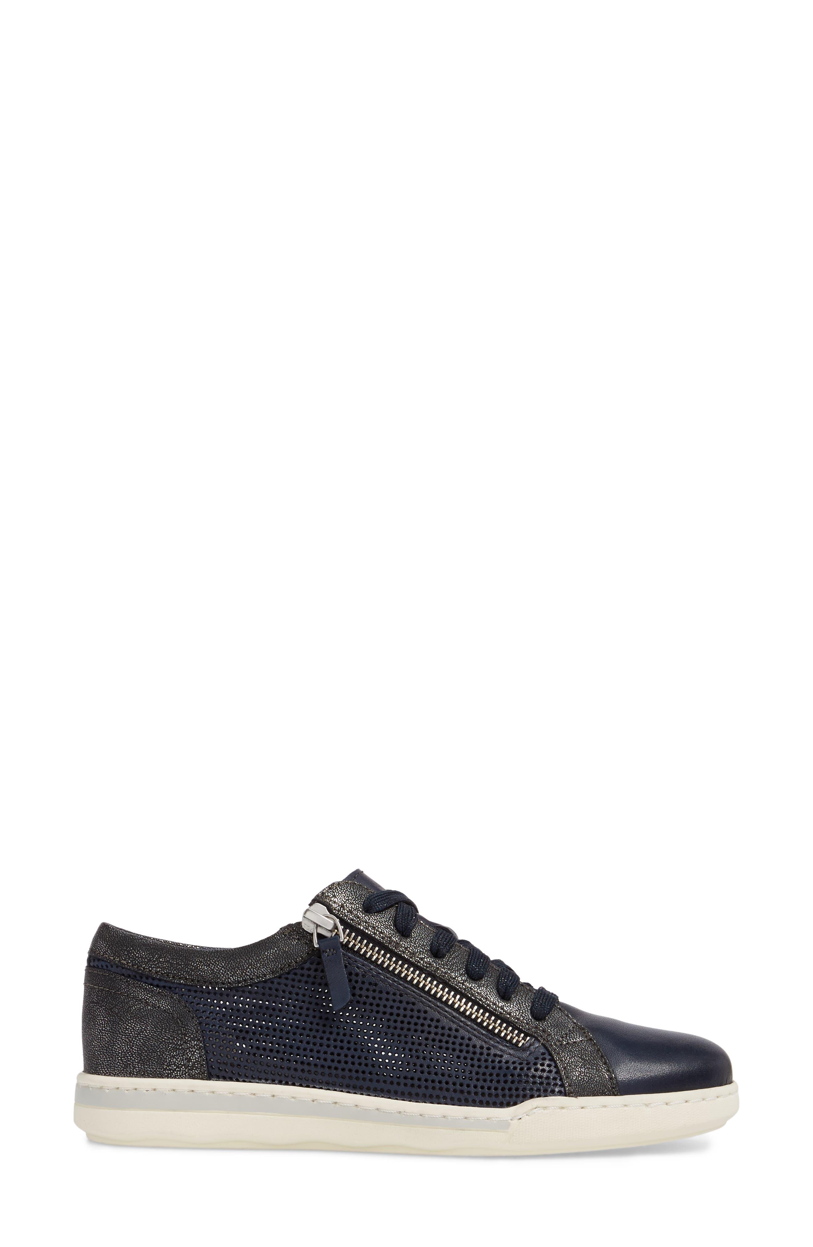 Freya Sneaker,                             Alternate thumbnail 3, color,                             Navy Leather
