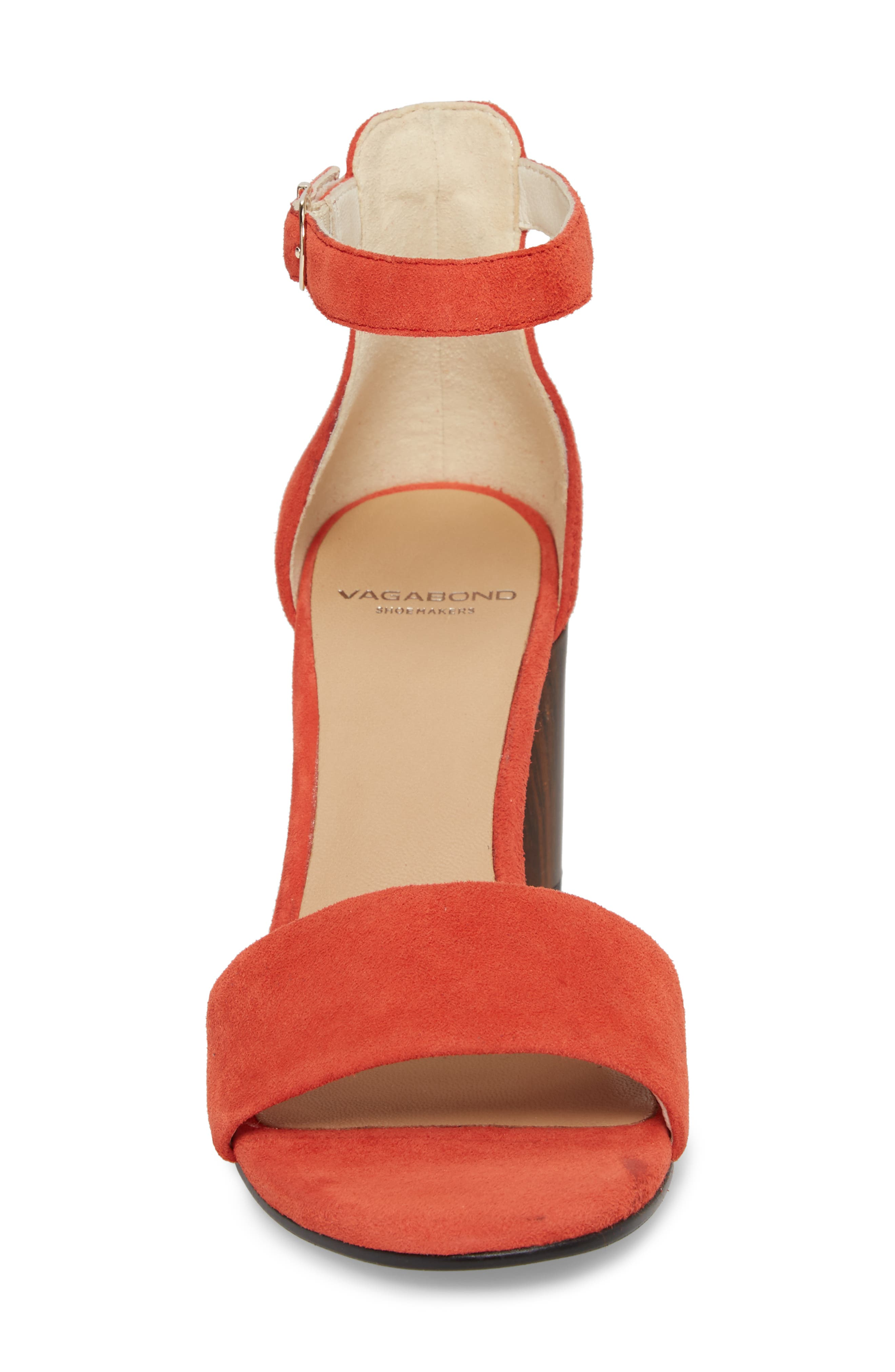 Carol Ankle Strap Sandal,                             Alternate thumbnail 4, color,                             Coral Suede