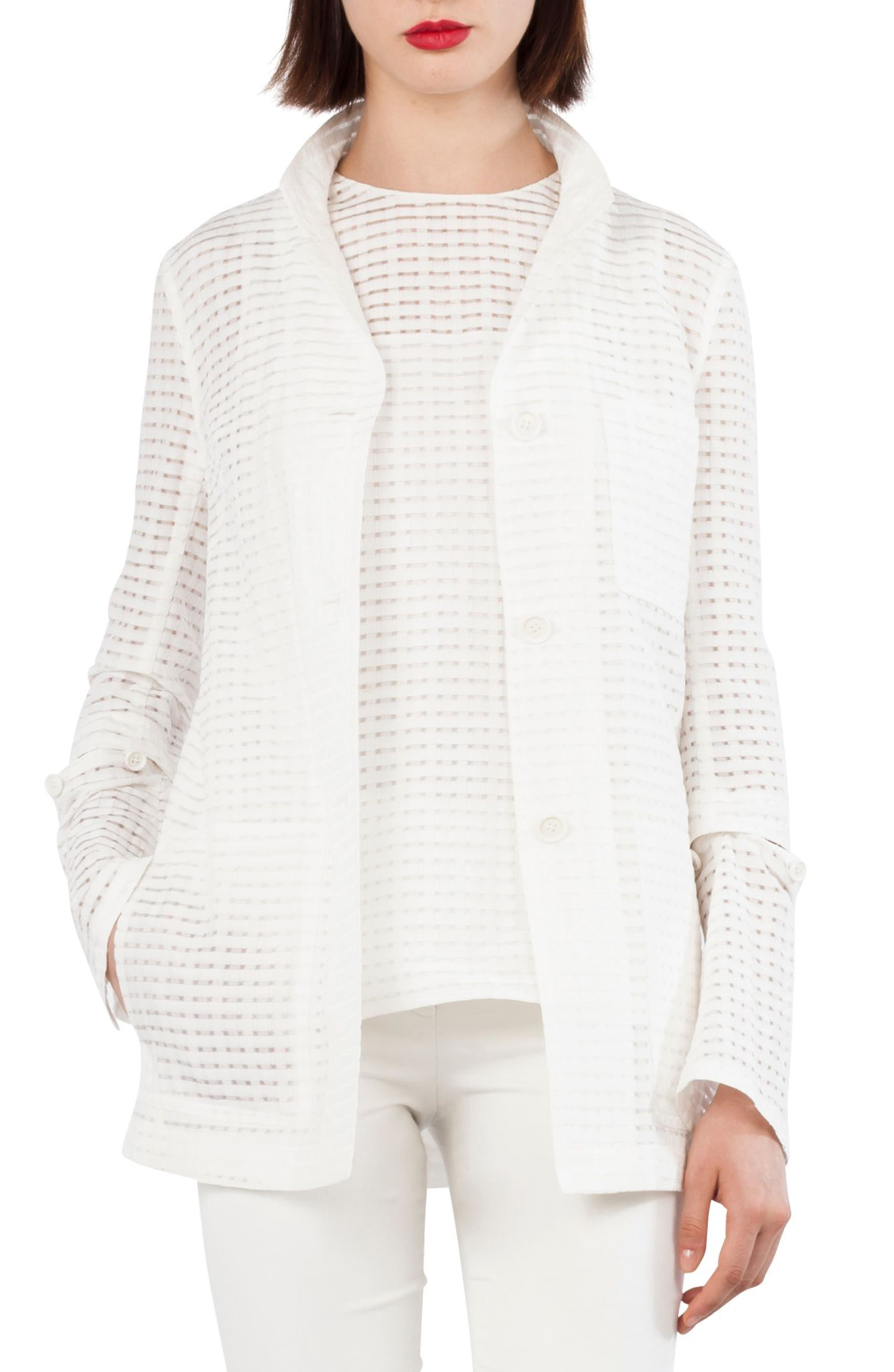 Openweave Silk & Cotton Blend Jacket with Detachable Cuffs,                             Main thumbnail 1, color,                             Paper