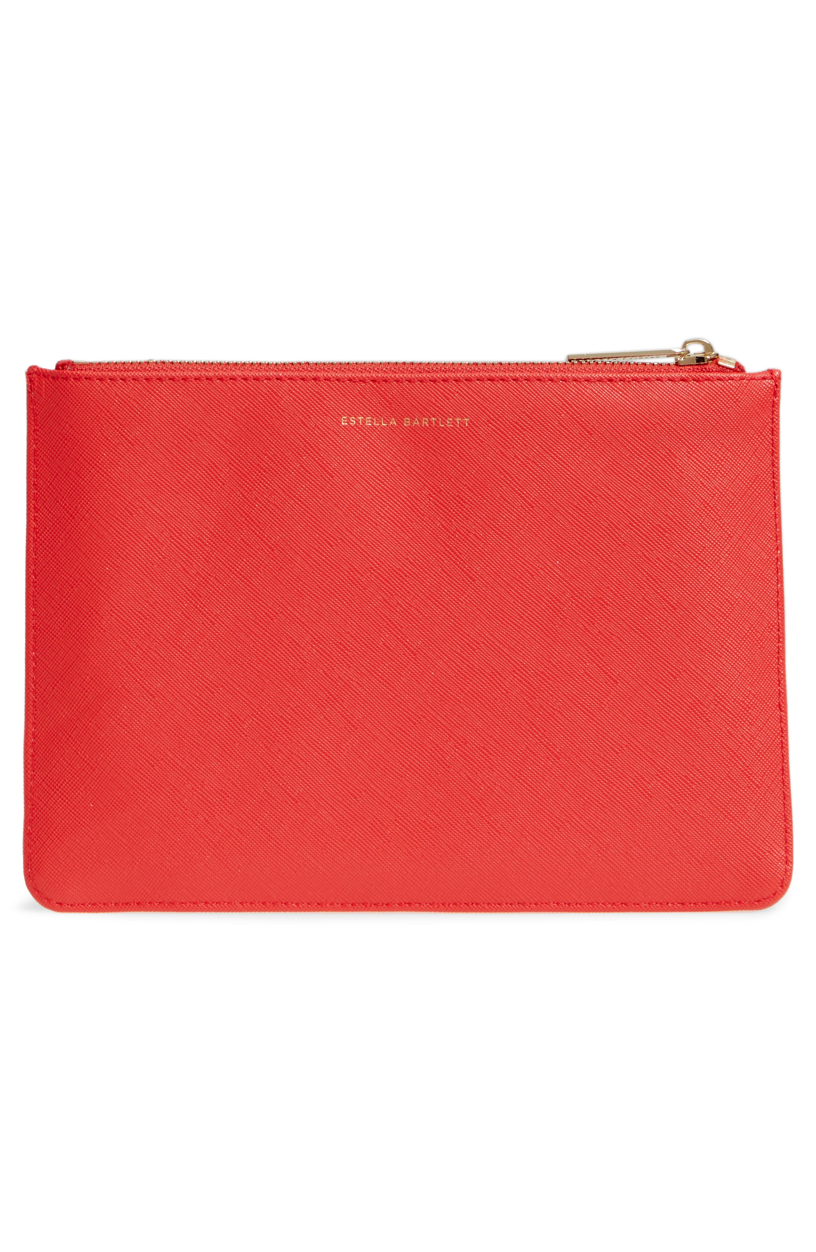 XOXO Medium Faux Leather Pouch,                             Alternate thumbnail 3, color,                             Red