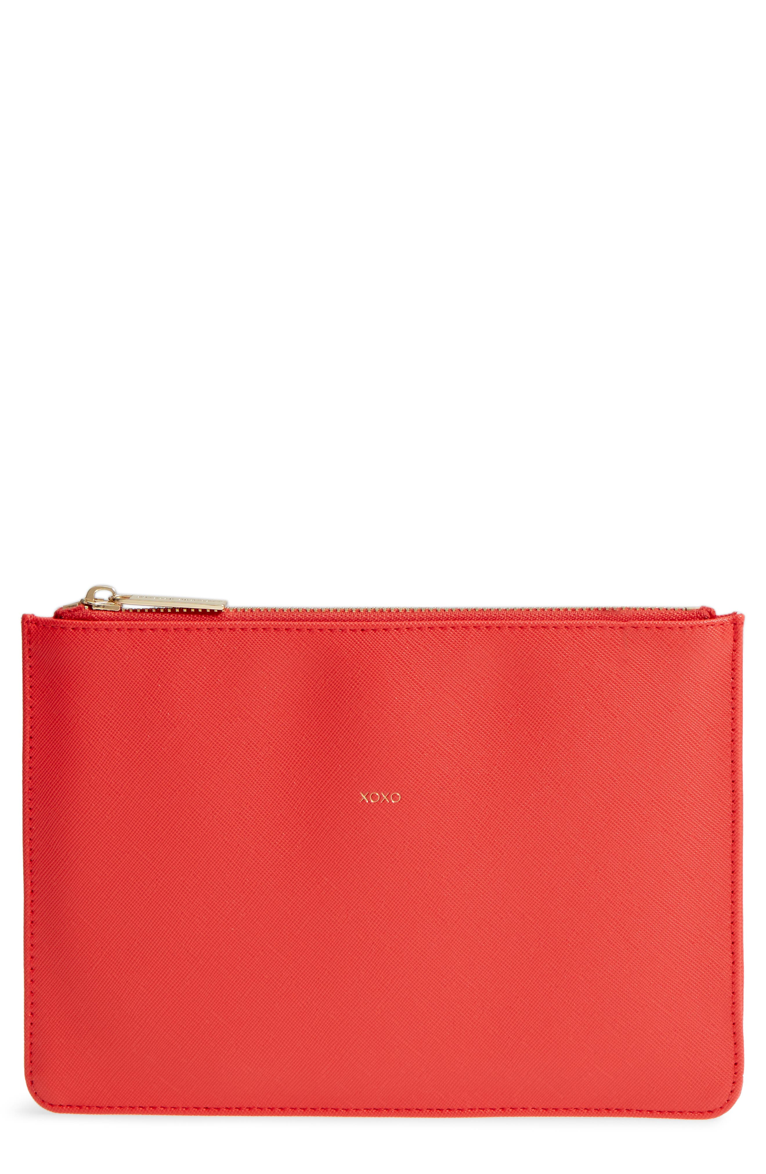 XOXO Medium Faux Leather Pouch,                             Main thumbnail 1, color,                             Red