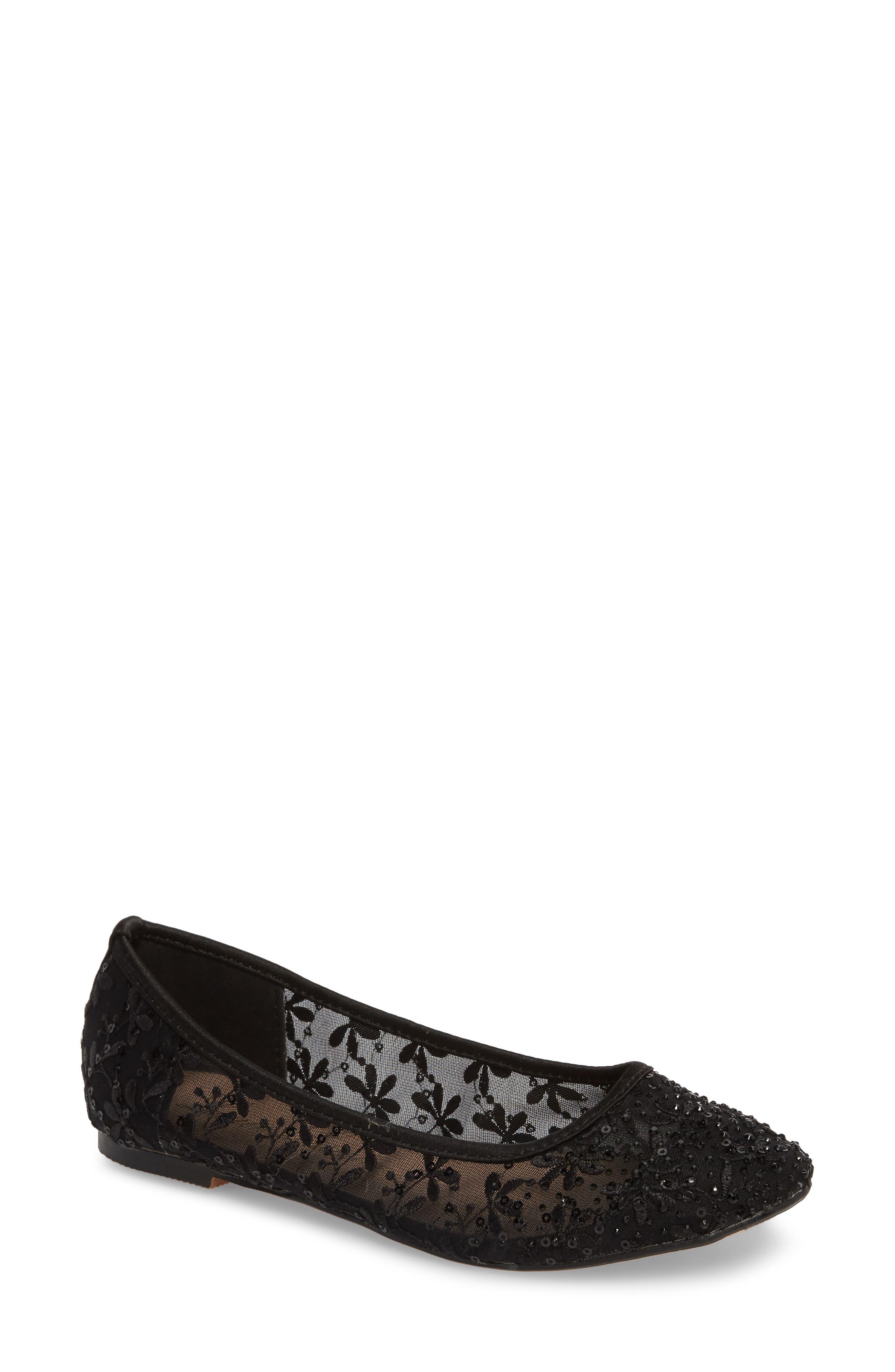 Betsy Embellished Flat,                             Main thumbnail 1, color,                             Black Fabric