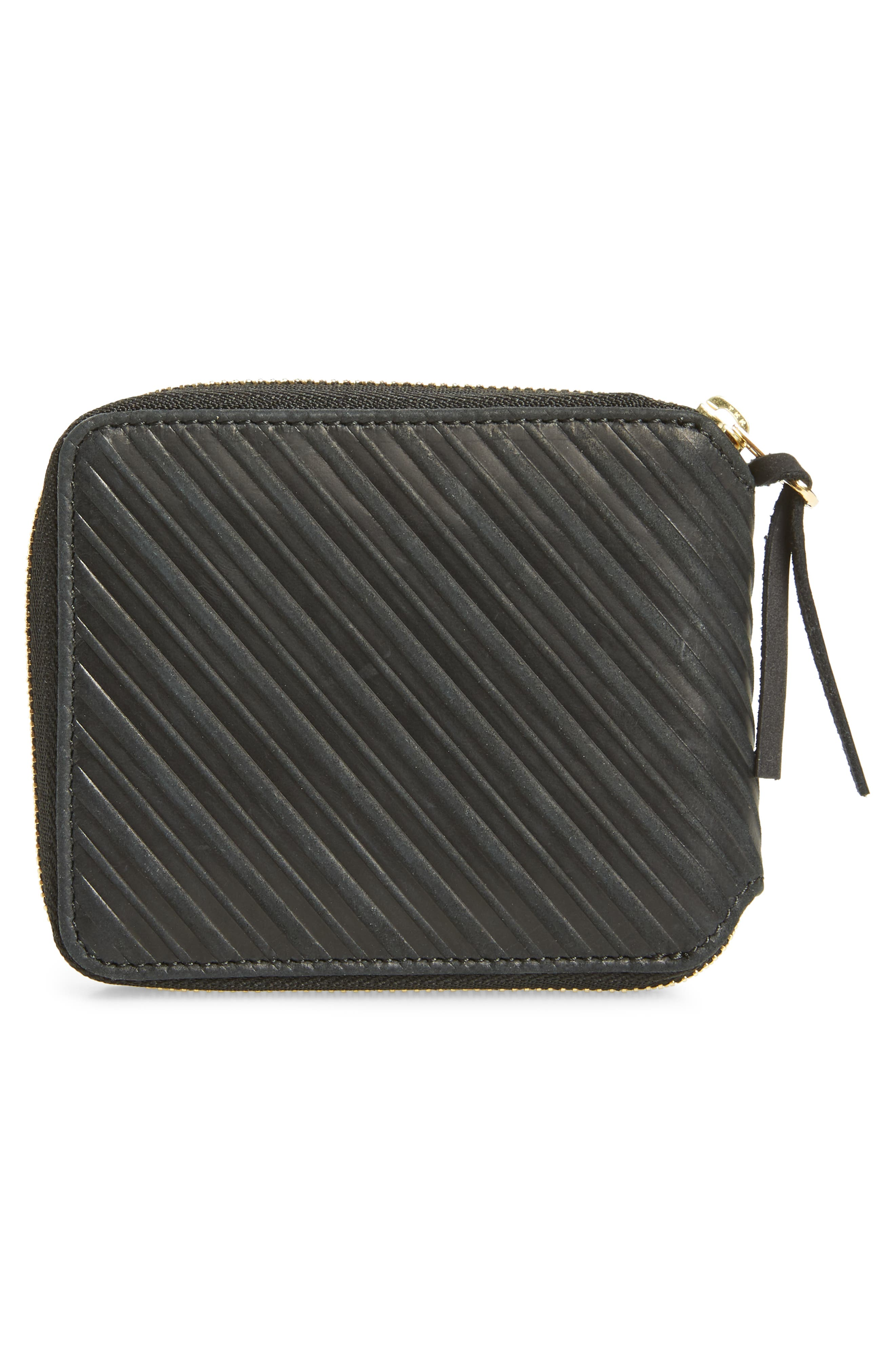 Leather Zip Wallet,                             Alternate thumbnail 3, color,                             Black