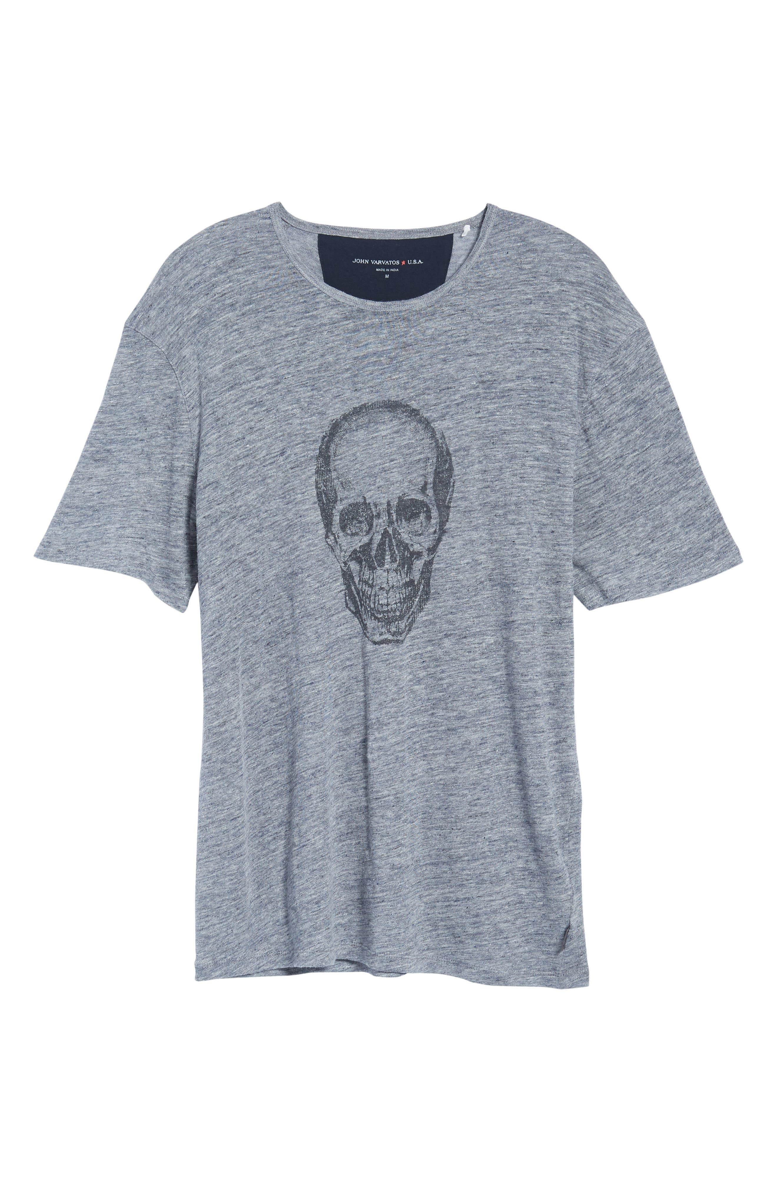 John Varvatos Crewneck Linen T-Shirt,                             Alternate thumbnail 6, color,                             Med Grey
