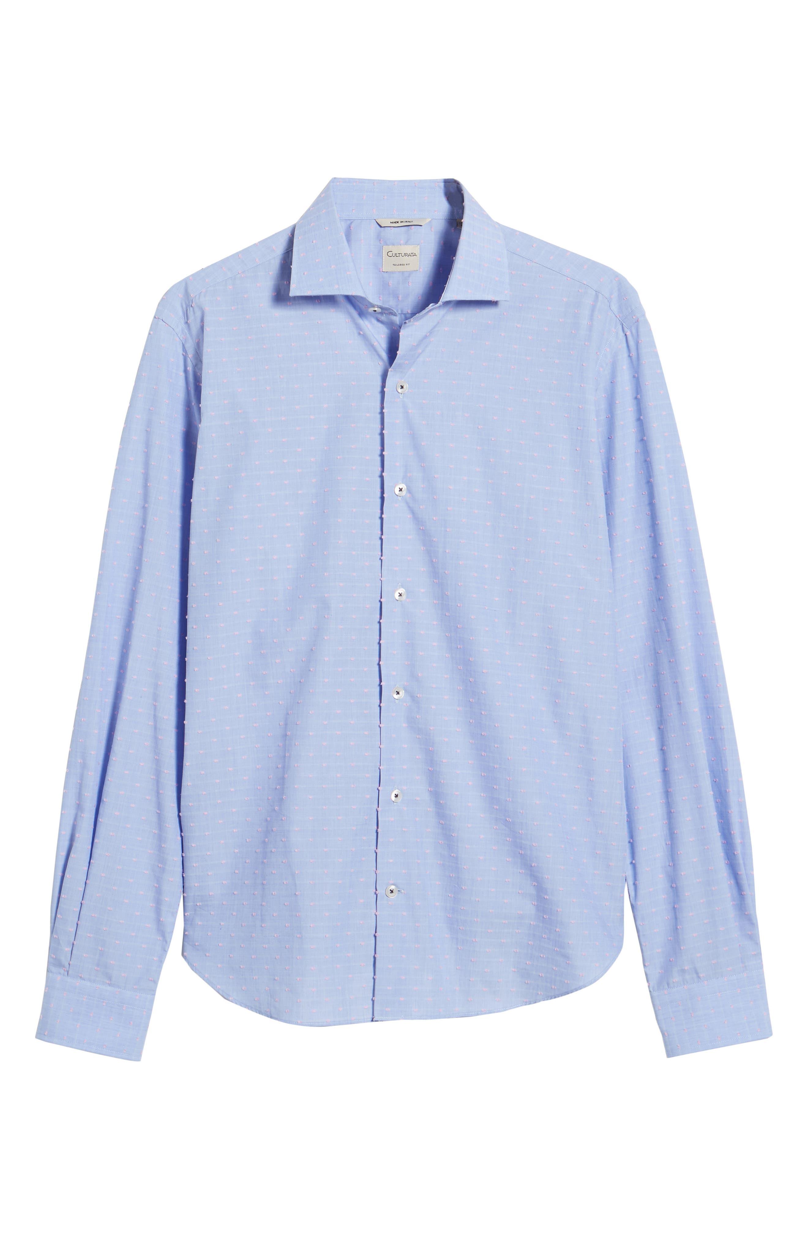 Tailored Fit Soft Touch Fil Coupé Sport Shirt,                             Alternate thumbnail 6, color,                             Blue