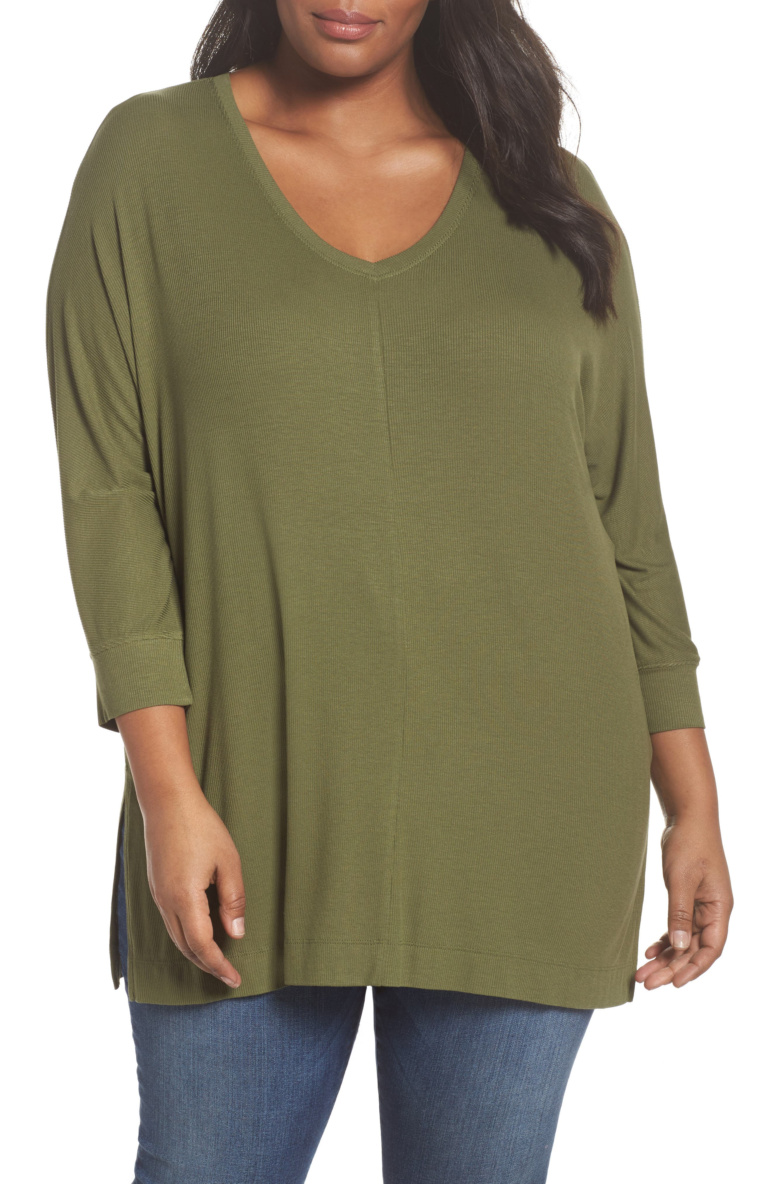 V-Neck Tunic Top,                             Main thumbnail 1, color,                             Olive Moss