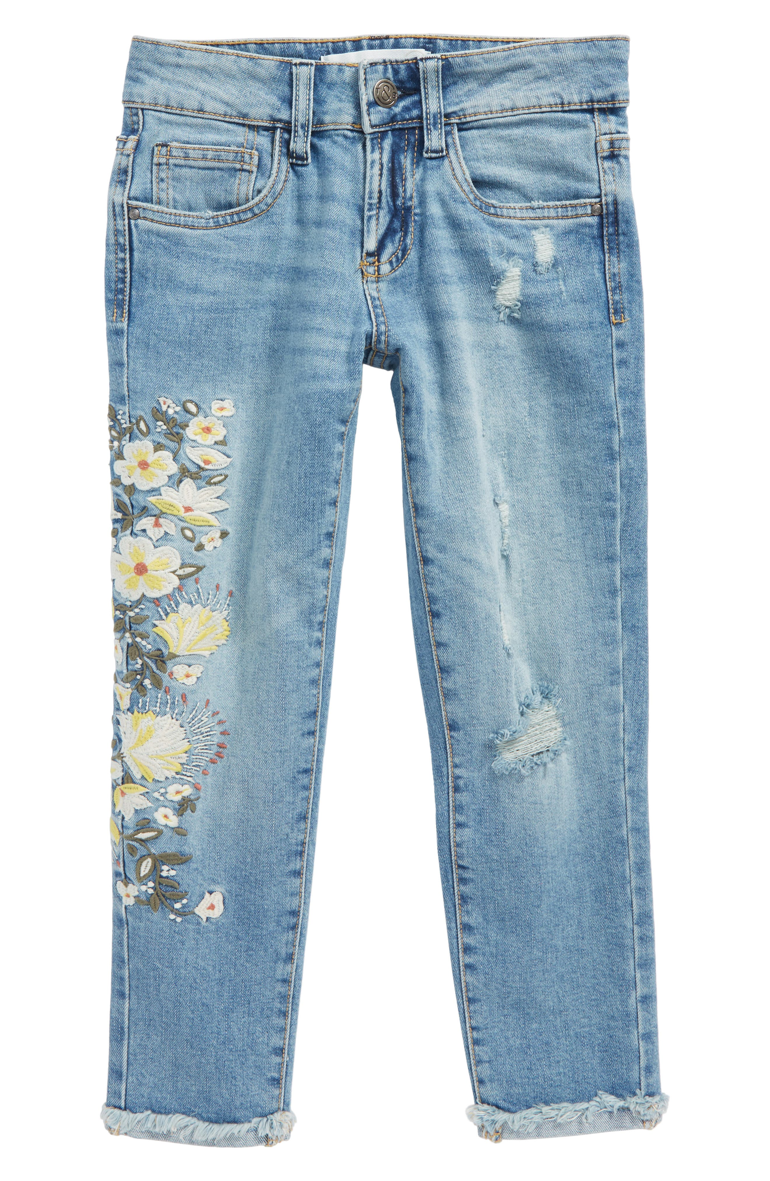 Embellished Jeans,                         Main,                         color, Sunbleached Wash
