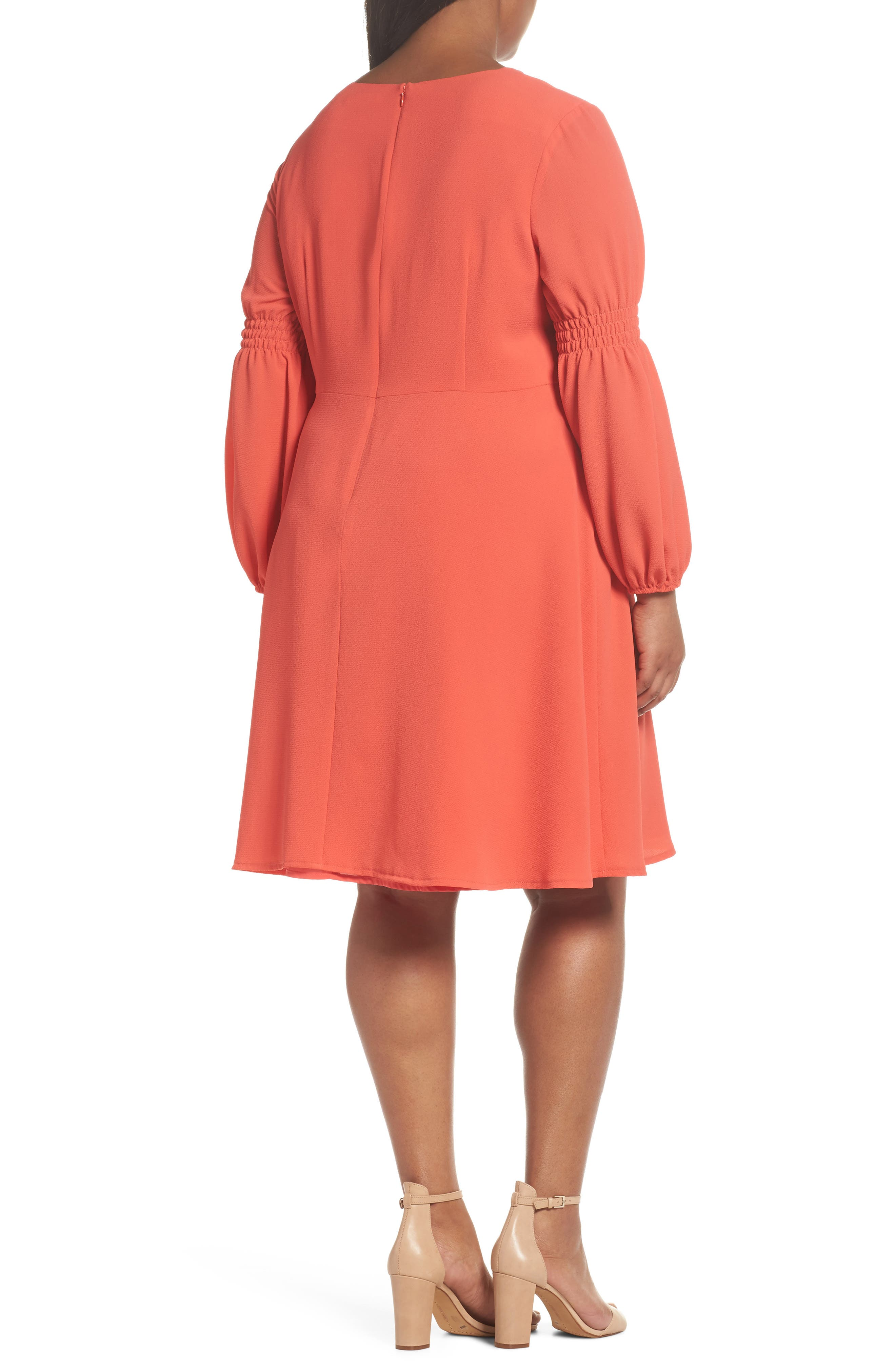 Smocked Puff Sleeve Fit & Flare Dress,                             Alternate thumbnail 2, color,                             Begonia