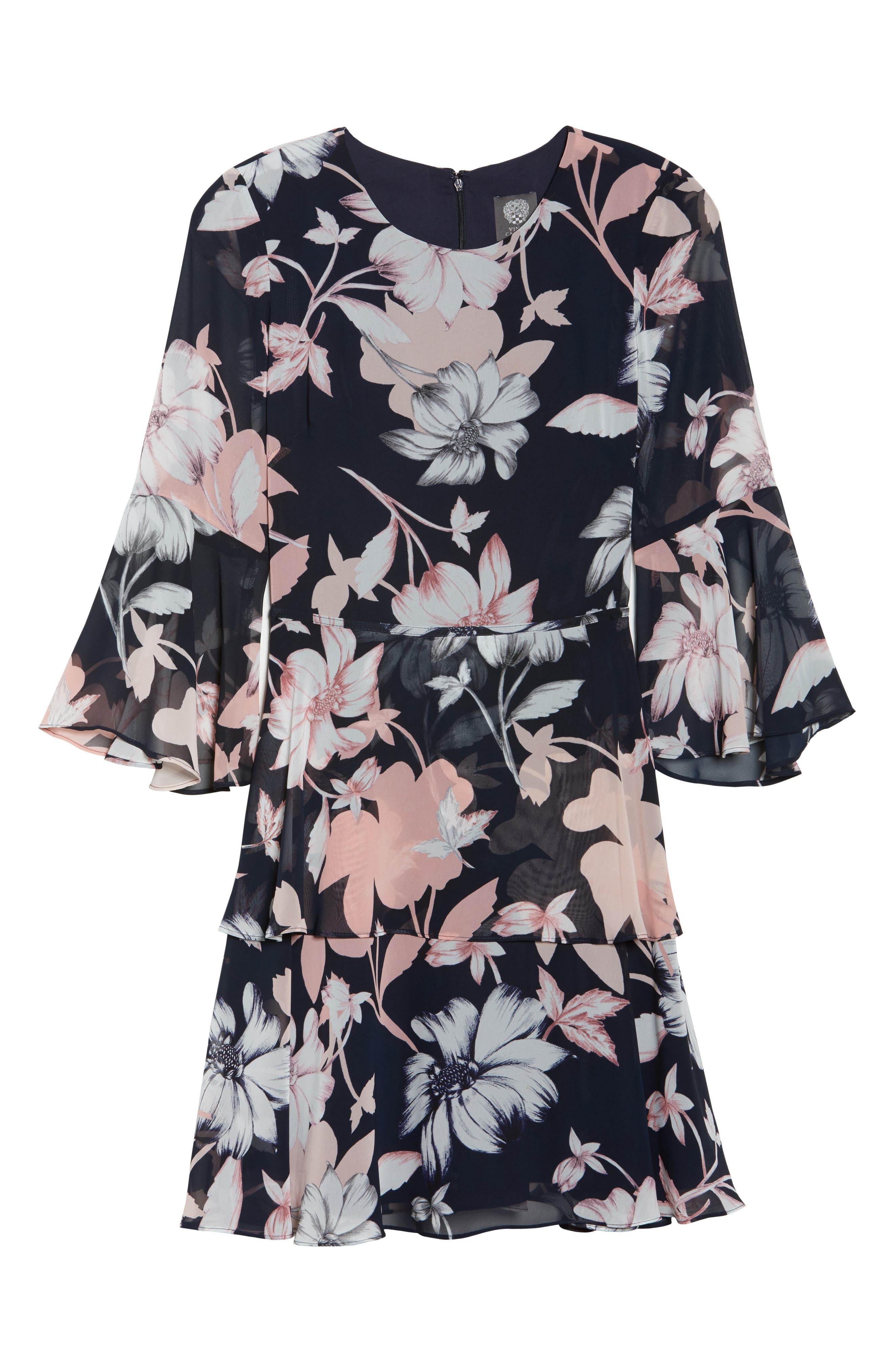 Floral Print Tiered Chiffon Dress,                             Alternate thumbnail 6, color,                             Navy Multi