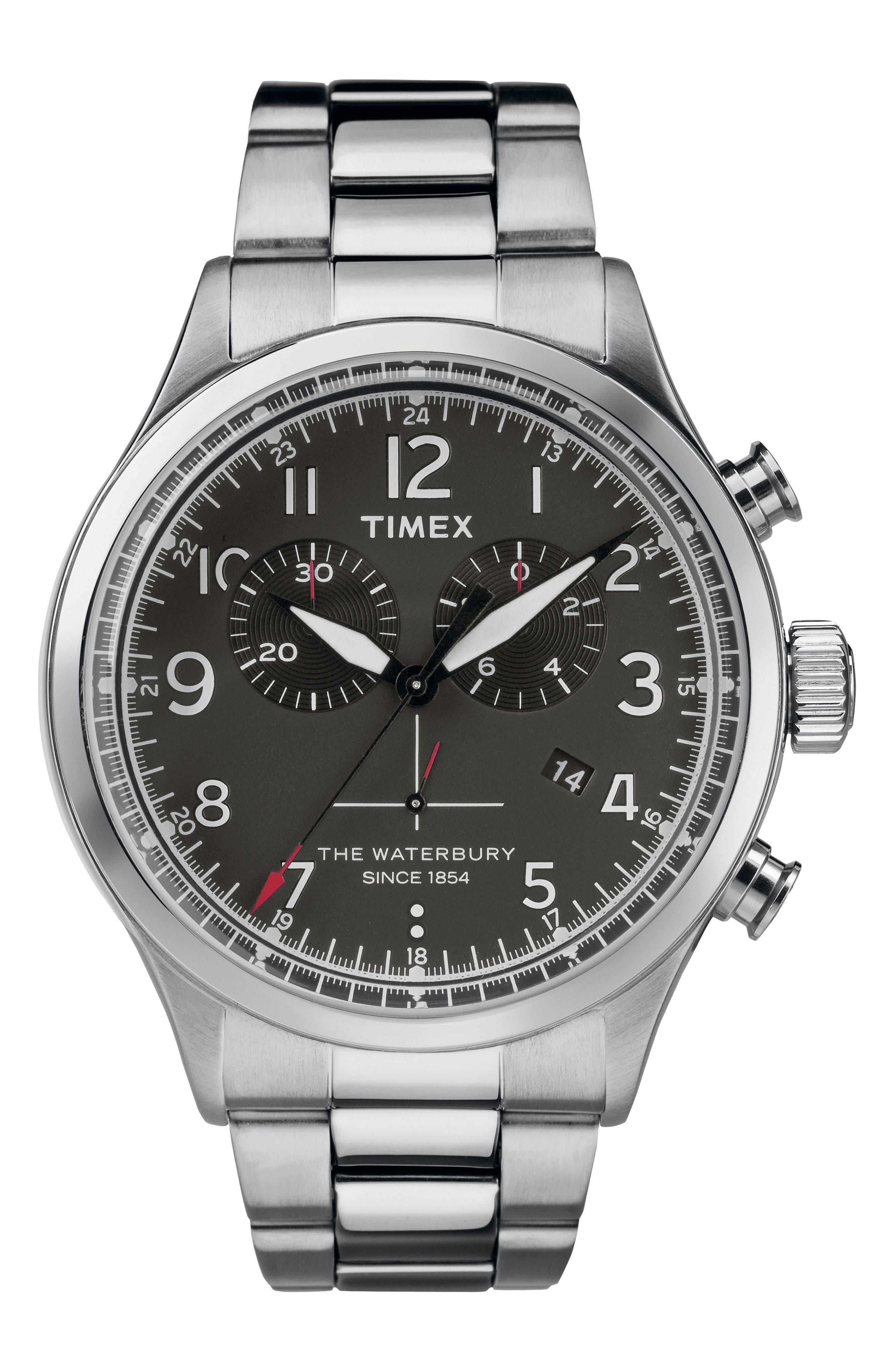 Waterbury Chronograph Bracelet Watch, 42mm,                             Main thumbnail 1, color,                             Silver/ Black/ Silver