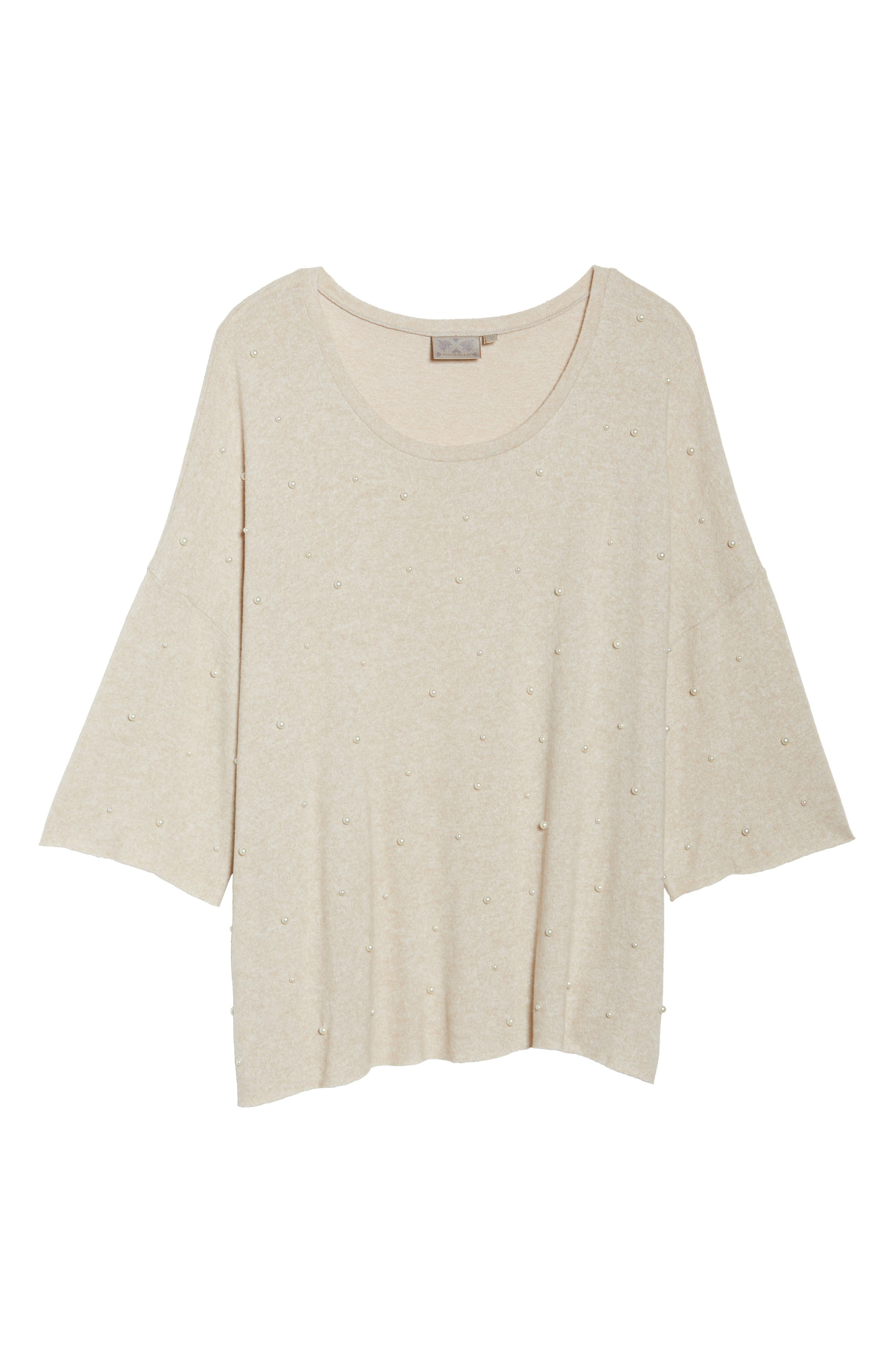 Pearl Embellished Sweater,                             Alternate thumbnail 6, color,                             Oatmeal