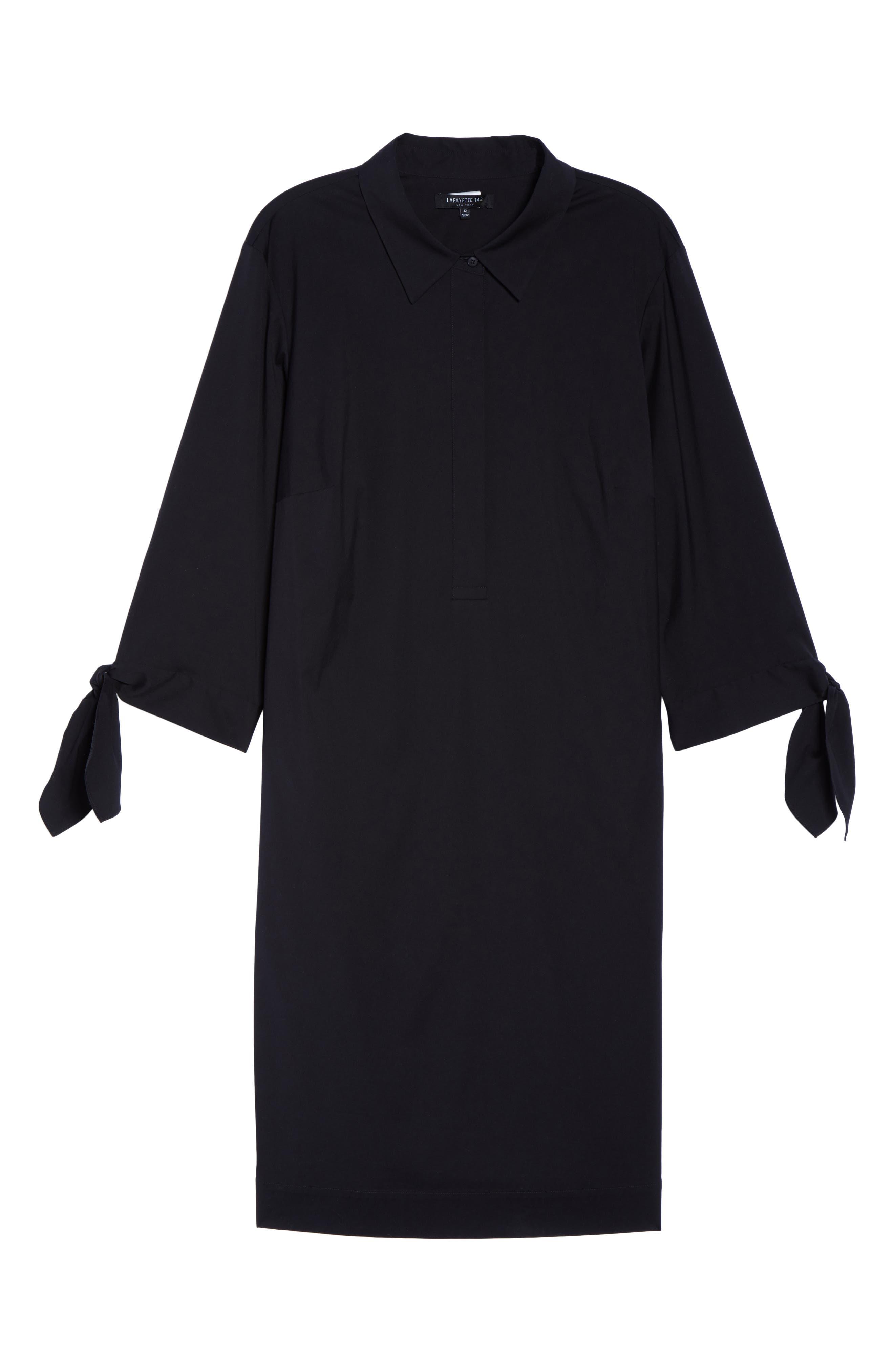 Lafayette 148 Talia Shirtdress,                             Alternate thumbnail 6, color,                             Black