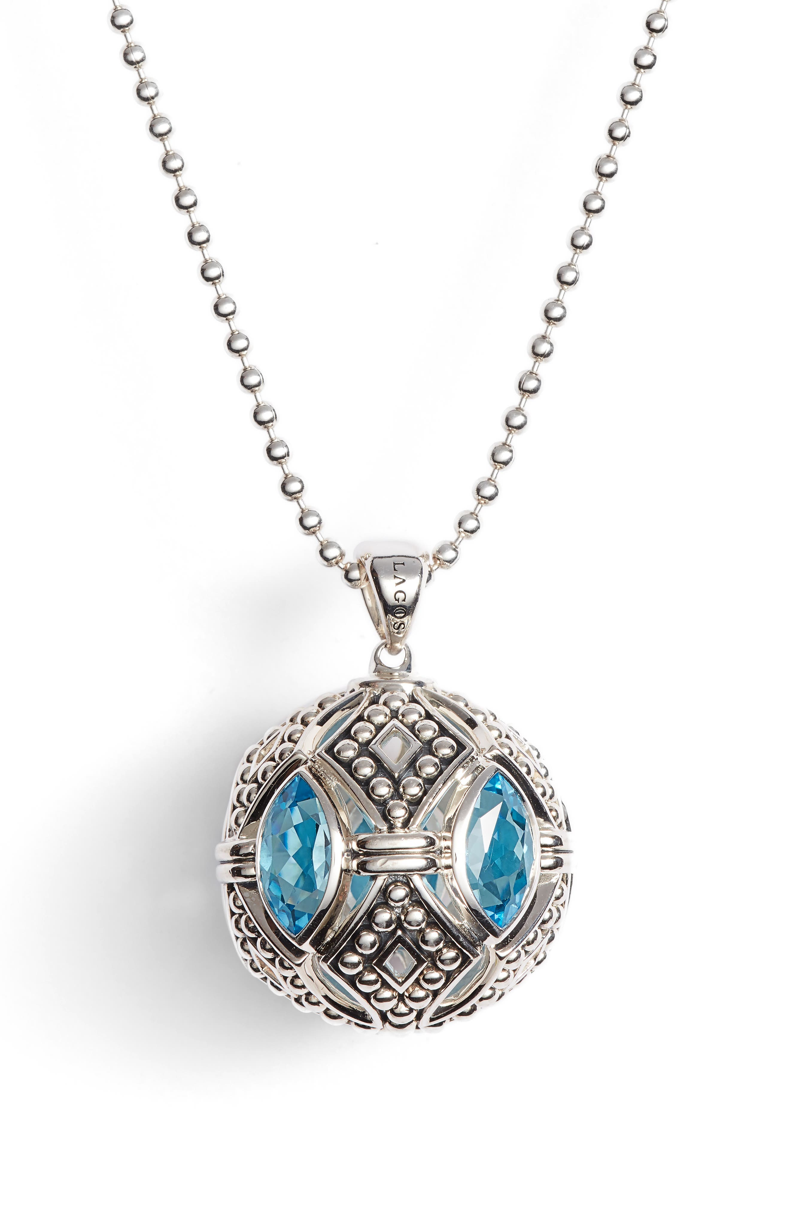 Signature Gifts Marquee Ball Pendant Necklace,                         Main,                         color, Silver/ Blue Topaz