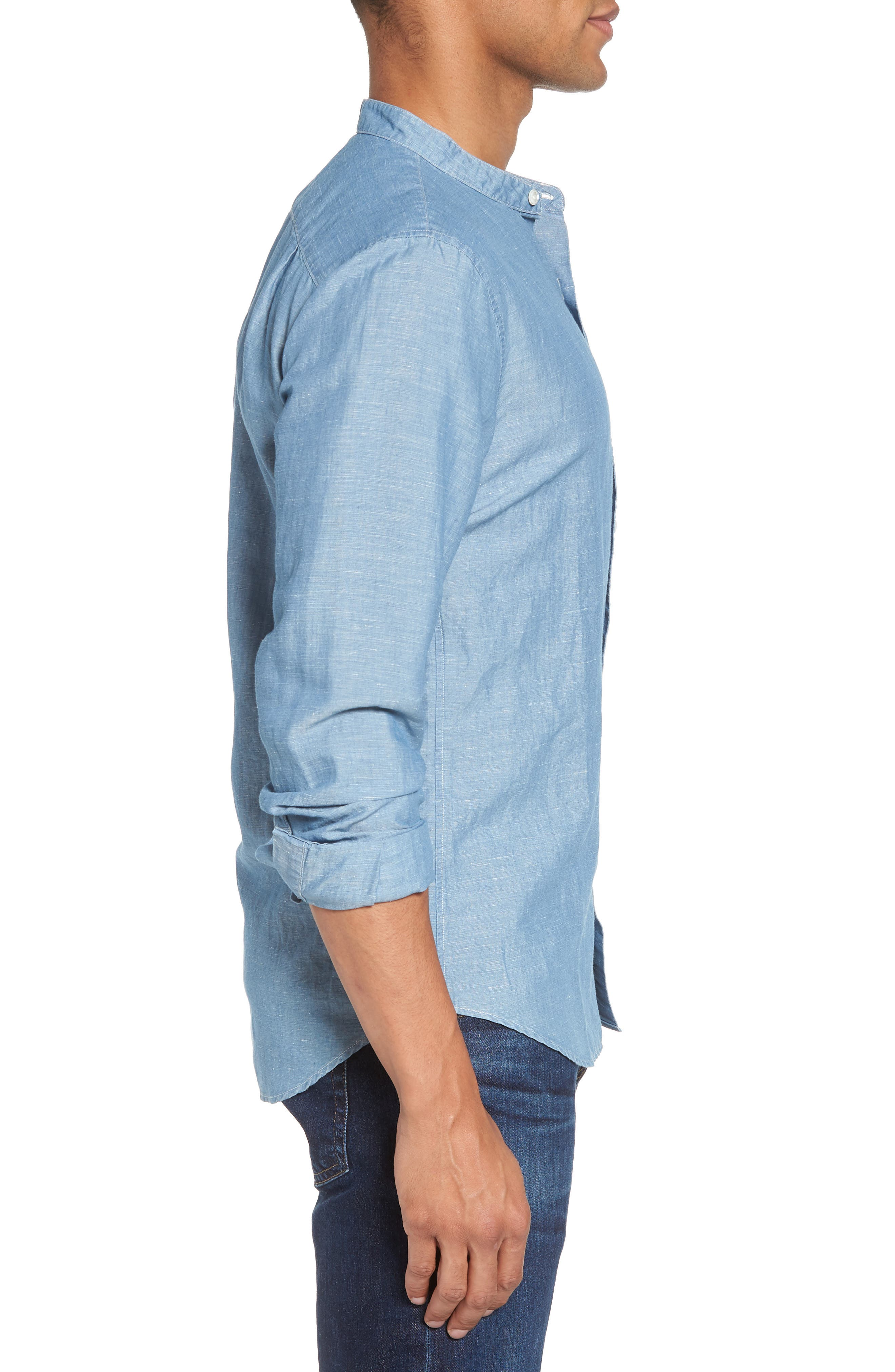 Trim Fit Chambray Sport Shirt,                             Alternate thumbnail 3, color,                             Chambray Bleach Wash