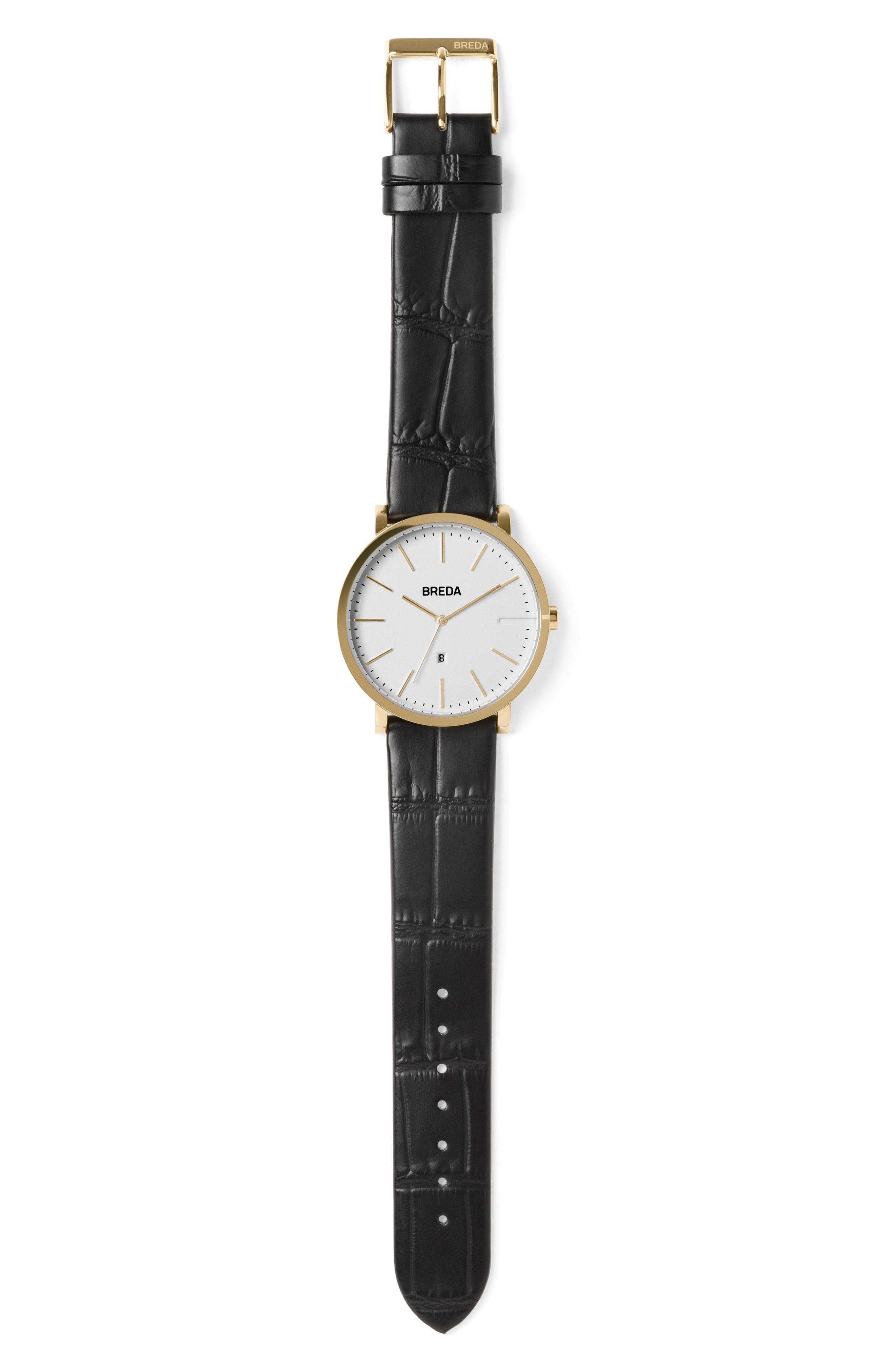 Breuer Leather Strap Watch, 39mm,                             Alternate thumbnail 3, color,                             Black/ Silver/ Gold