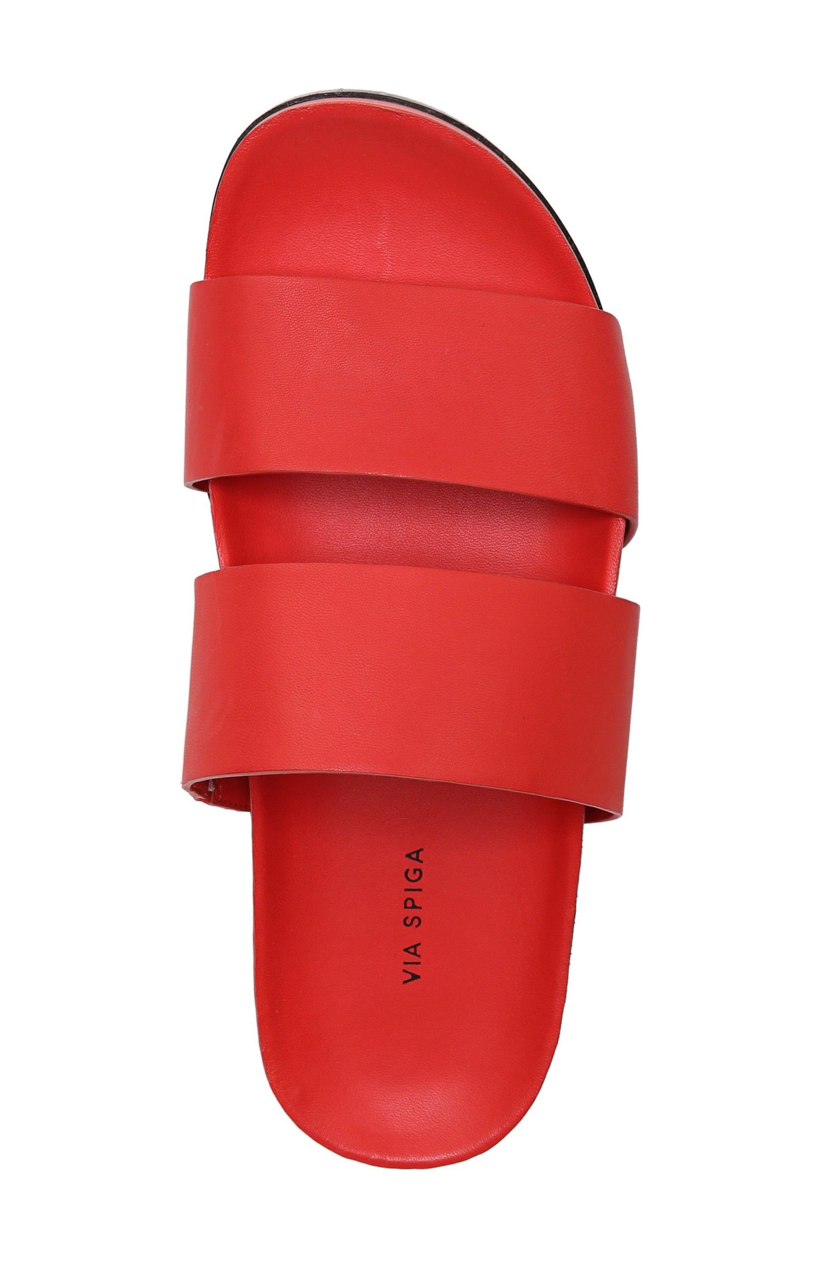 Milton Slide Sandal,                             Alternate thumbnail 5, color,                             Poppy Red Leather