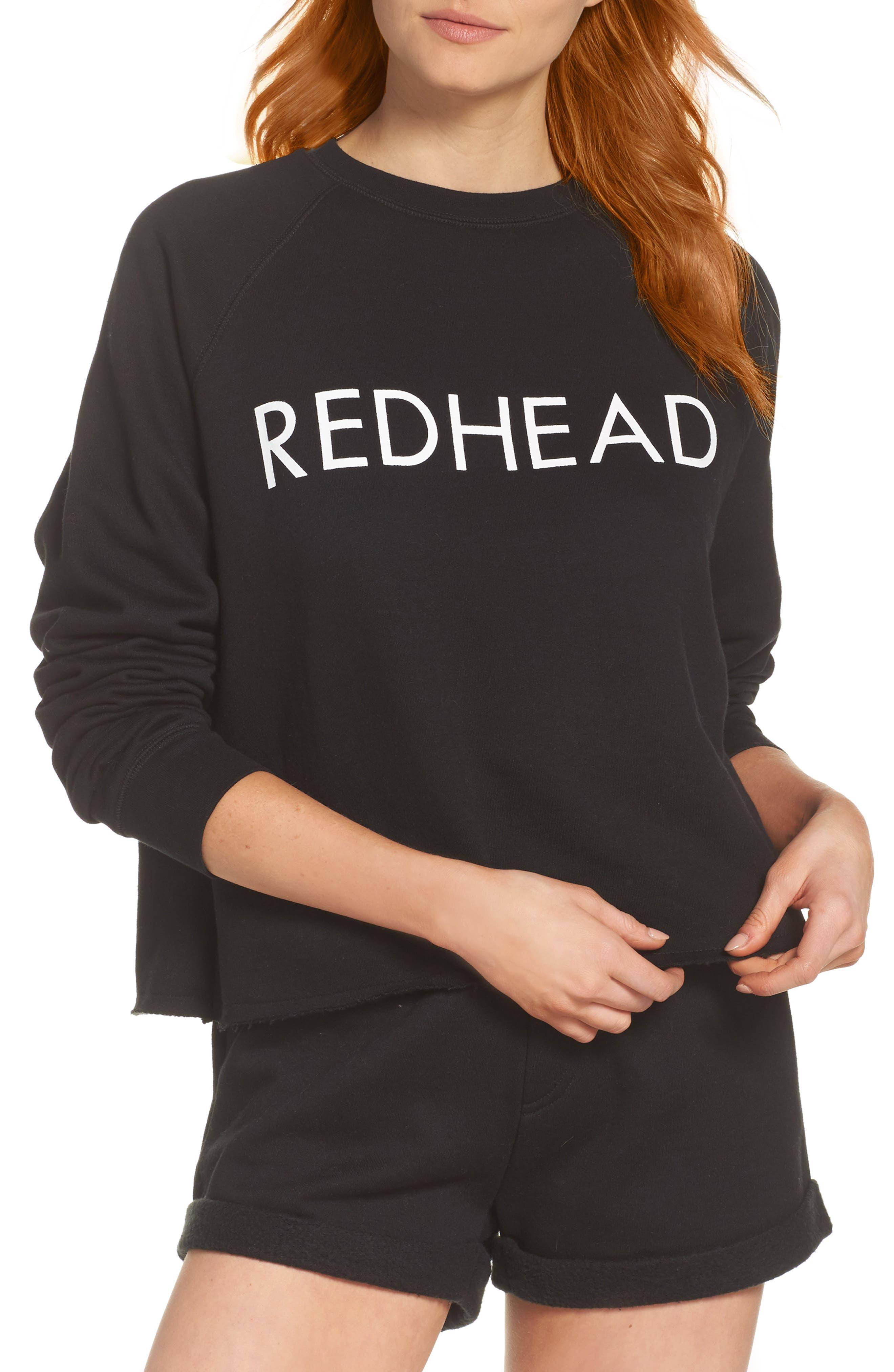 Redhead Raw Hem Sweatshirt,                             Main thumbnail 1, color,                             Black