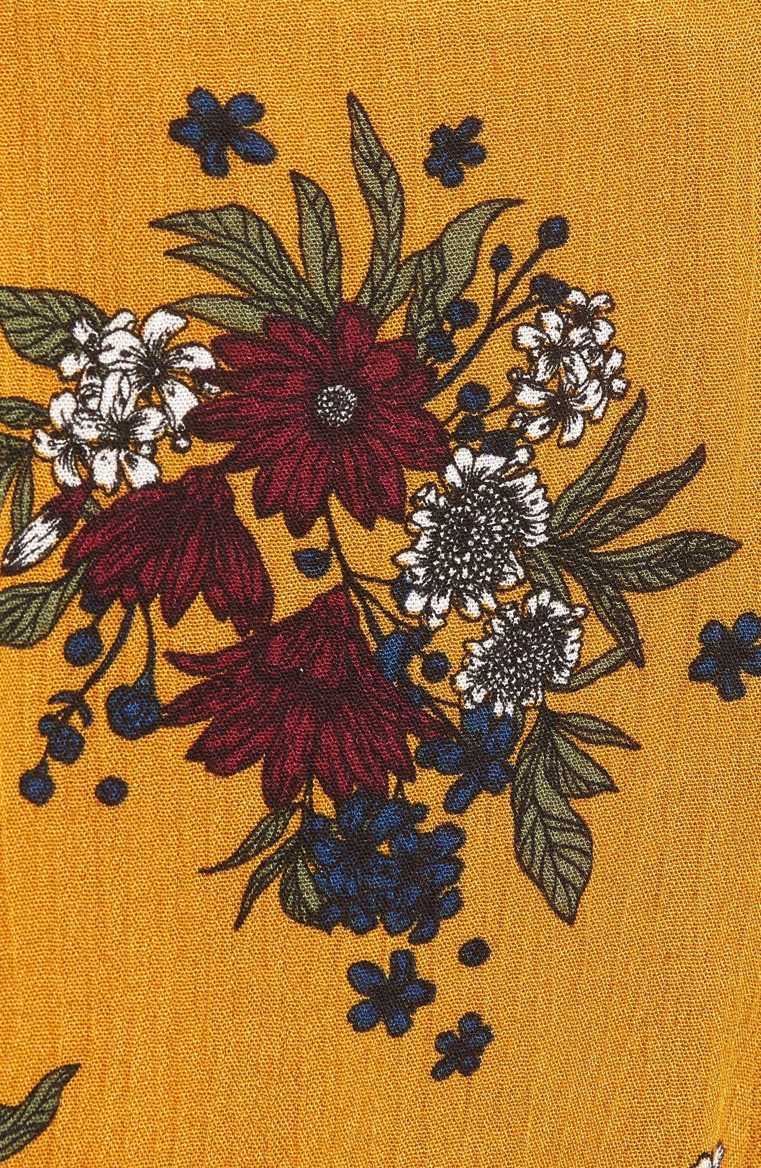 Theia Floral Ruffle Hem Shorts,                             Alternate thumbnail 5, color,                             Honey